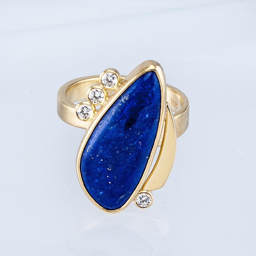 Custom Freeform Lapis Ring with Diamonds