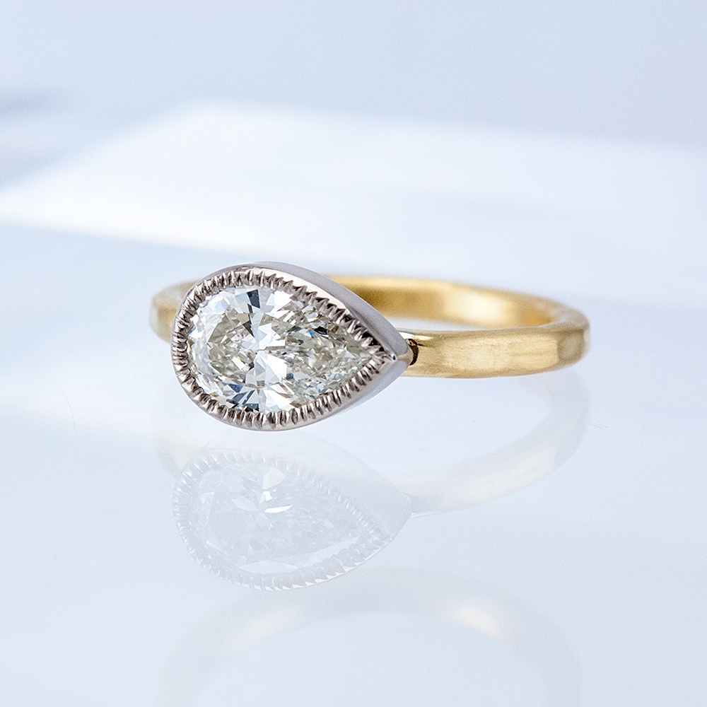 Textured Bezel Solitaire with Pear-shaped Diamond