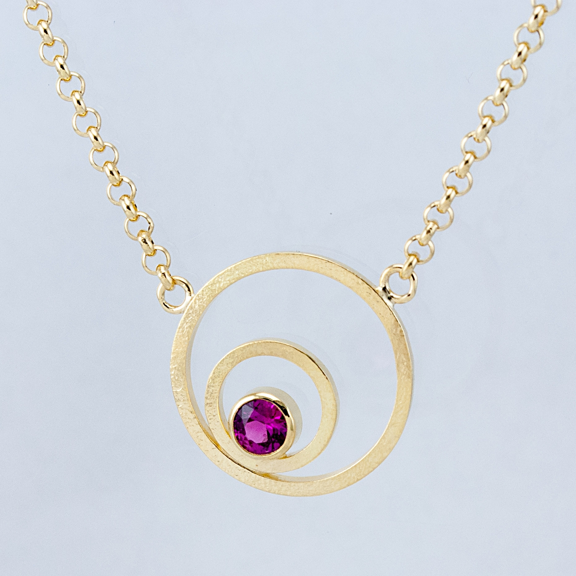 Double Circle Necklace with Pink Sapphire