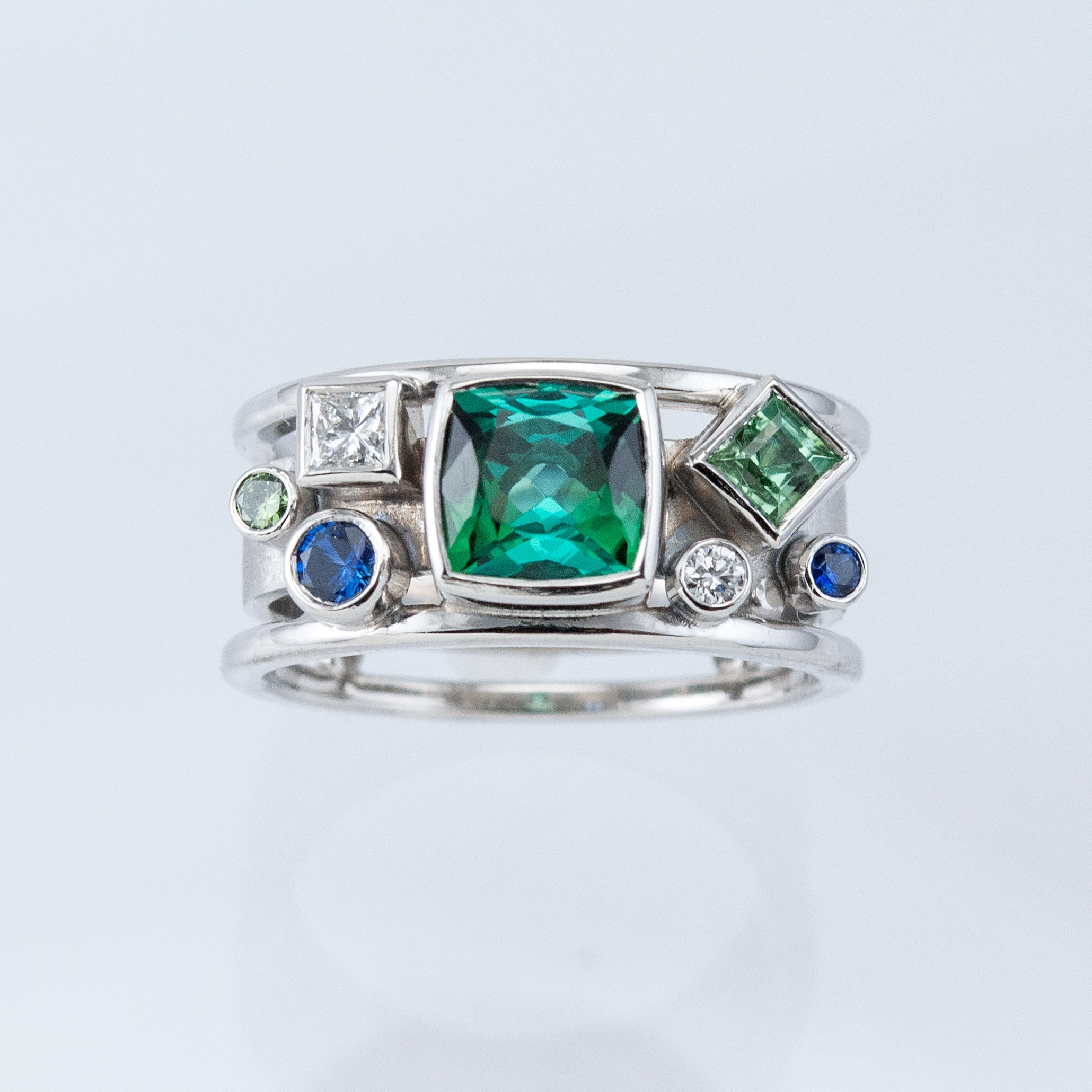 Platinum Memory Ring in Greens and Blues