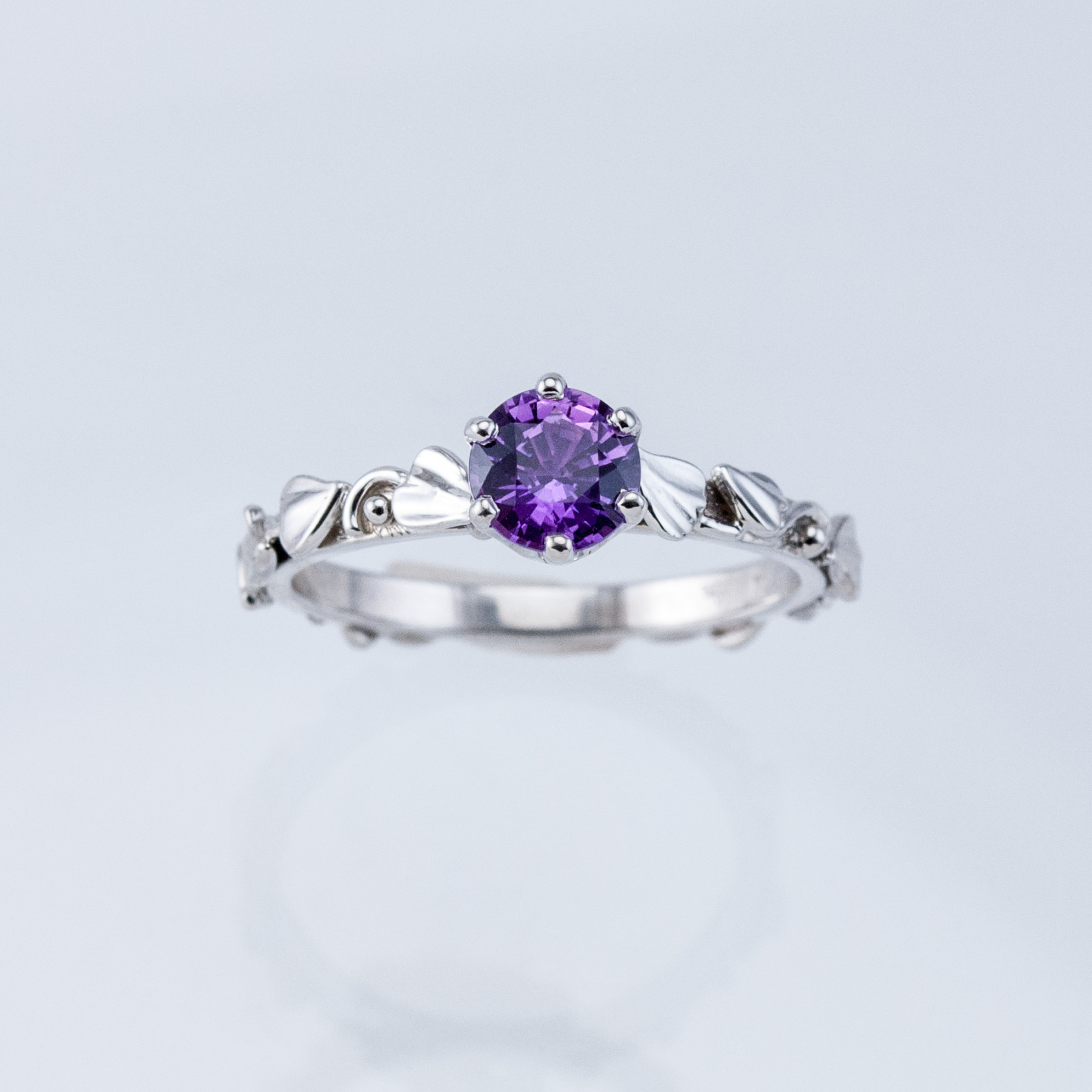 Lilac Leaf Solitaire with Purple Sapphire