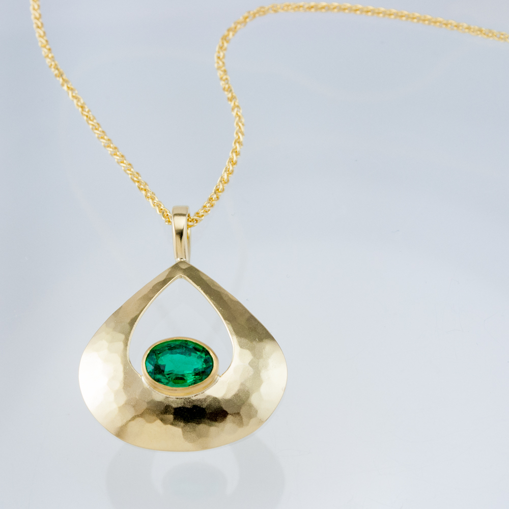 Luna Pear Pendant with Emerald