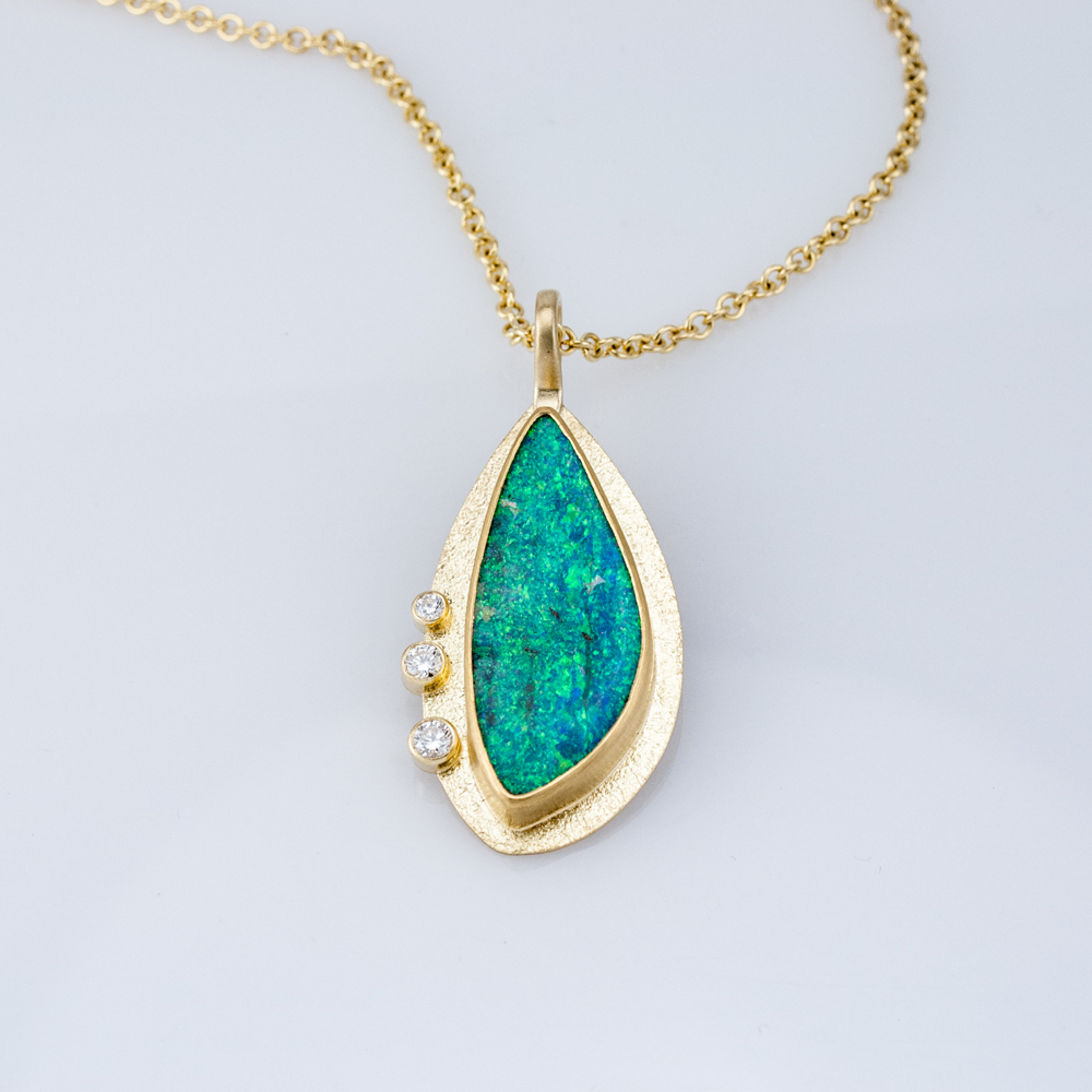 Boulder Opal and Diamond Pendant