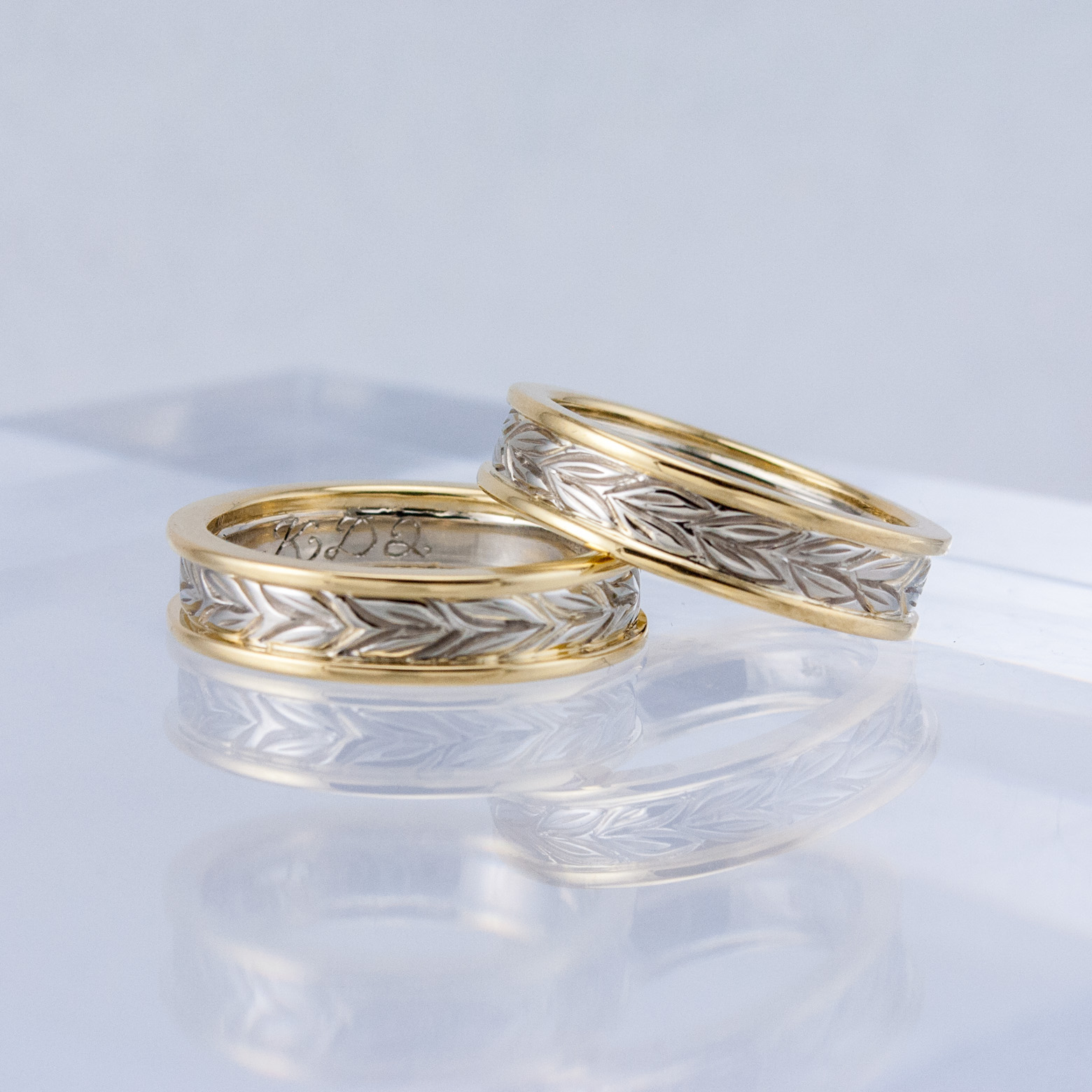 Two-tone Wheat Wedding Bands
