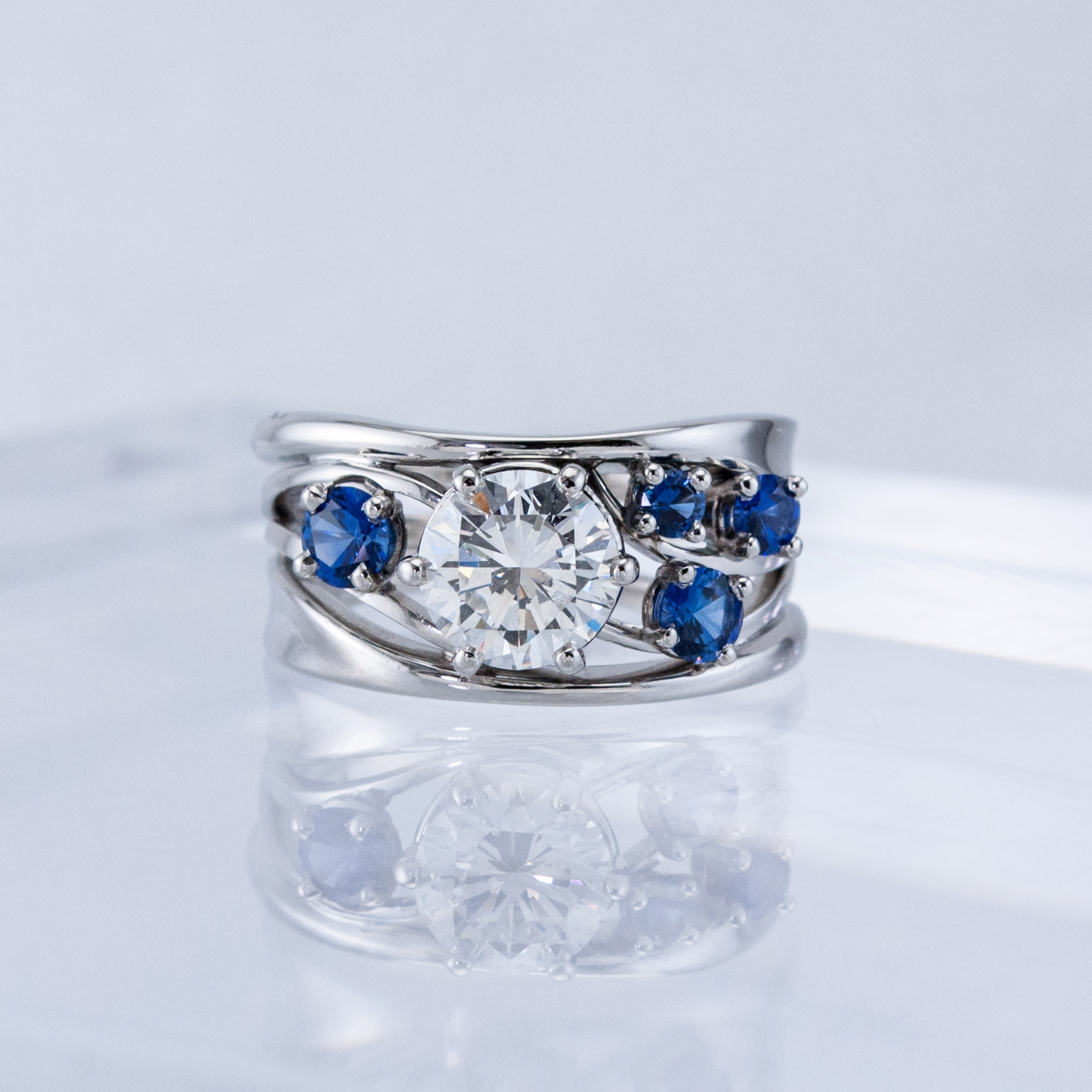 Constellation Ring with Diamond and Sapphires