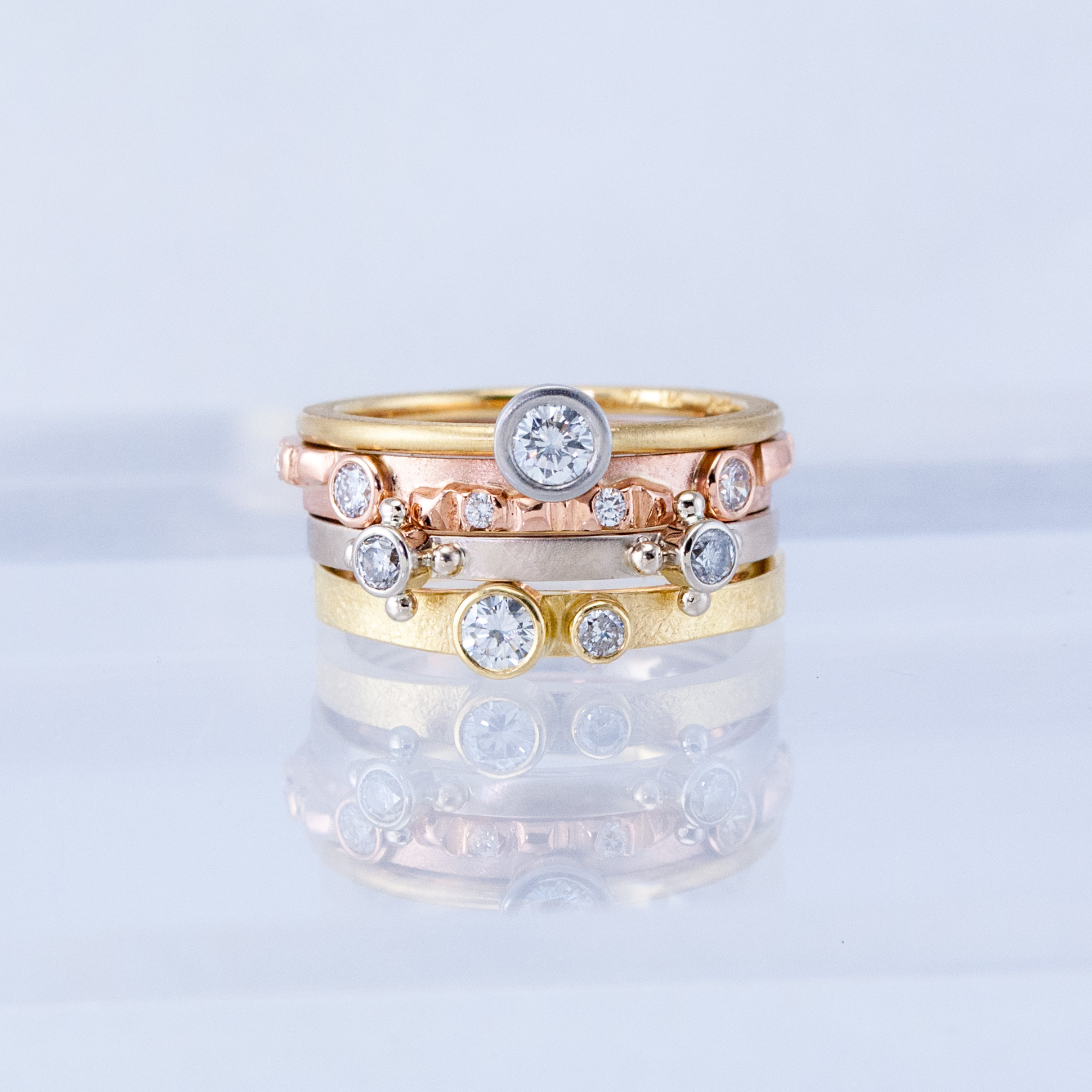 Tricolor Stacking Rings with Diamonds