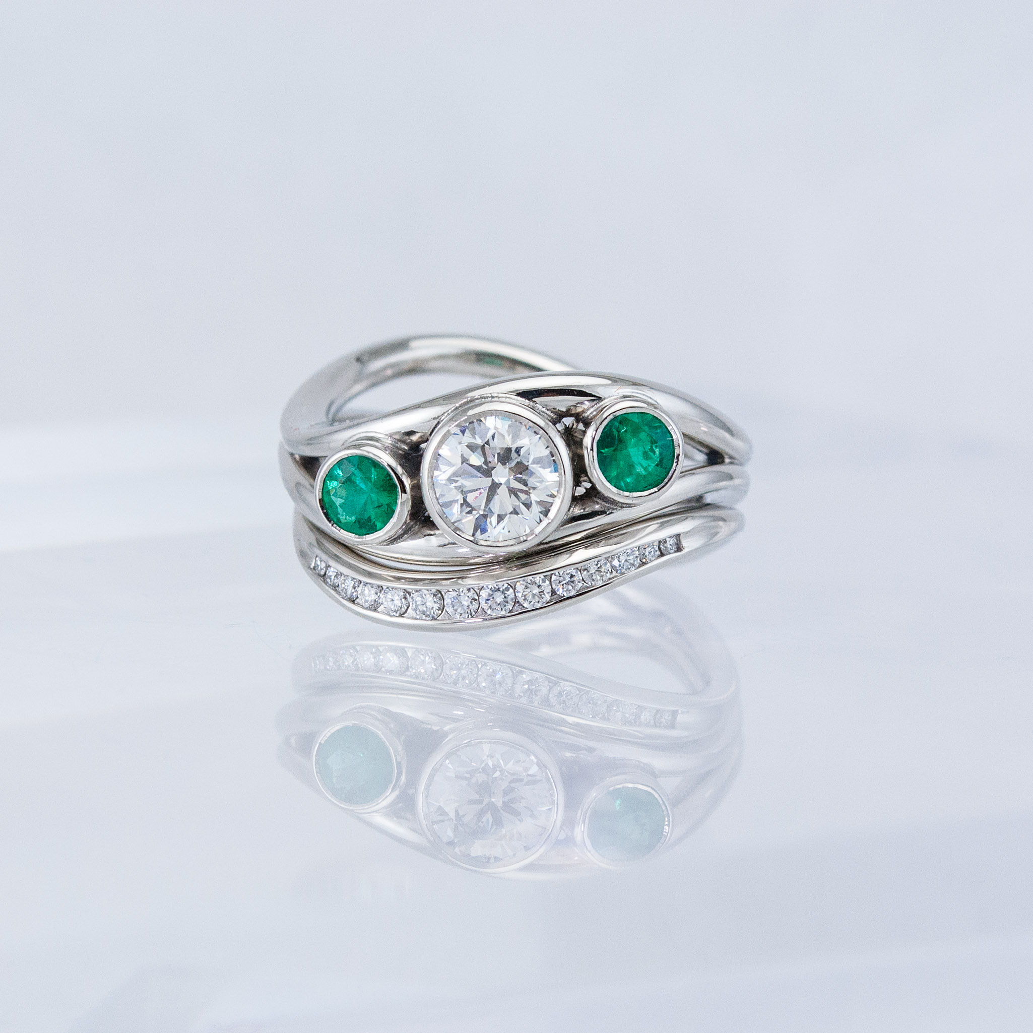 Duality Wedding Set with Diamond and Emeralds