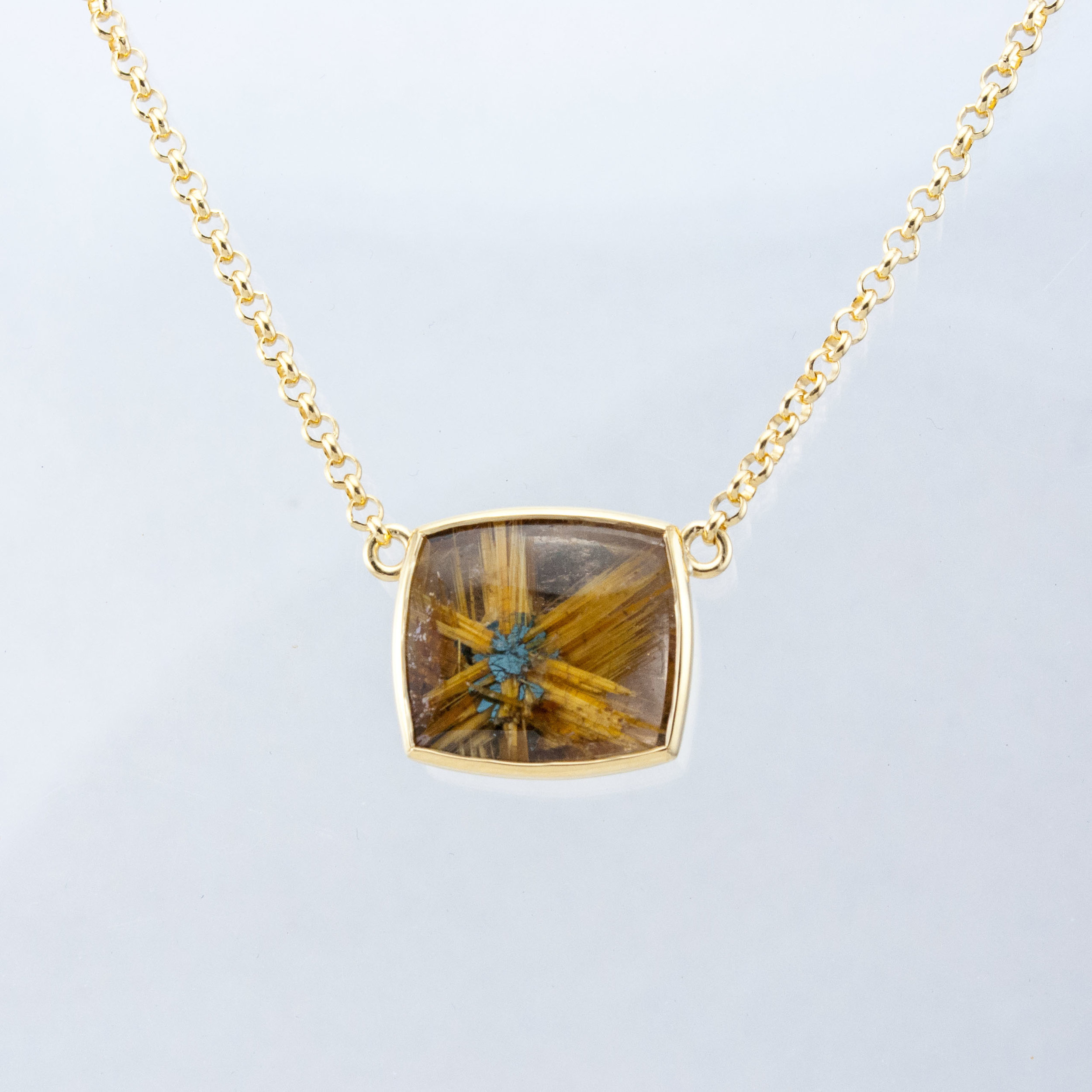 Cushion Rutilated Quartz Necklace