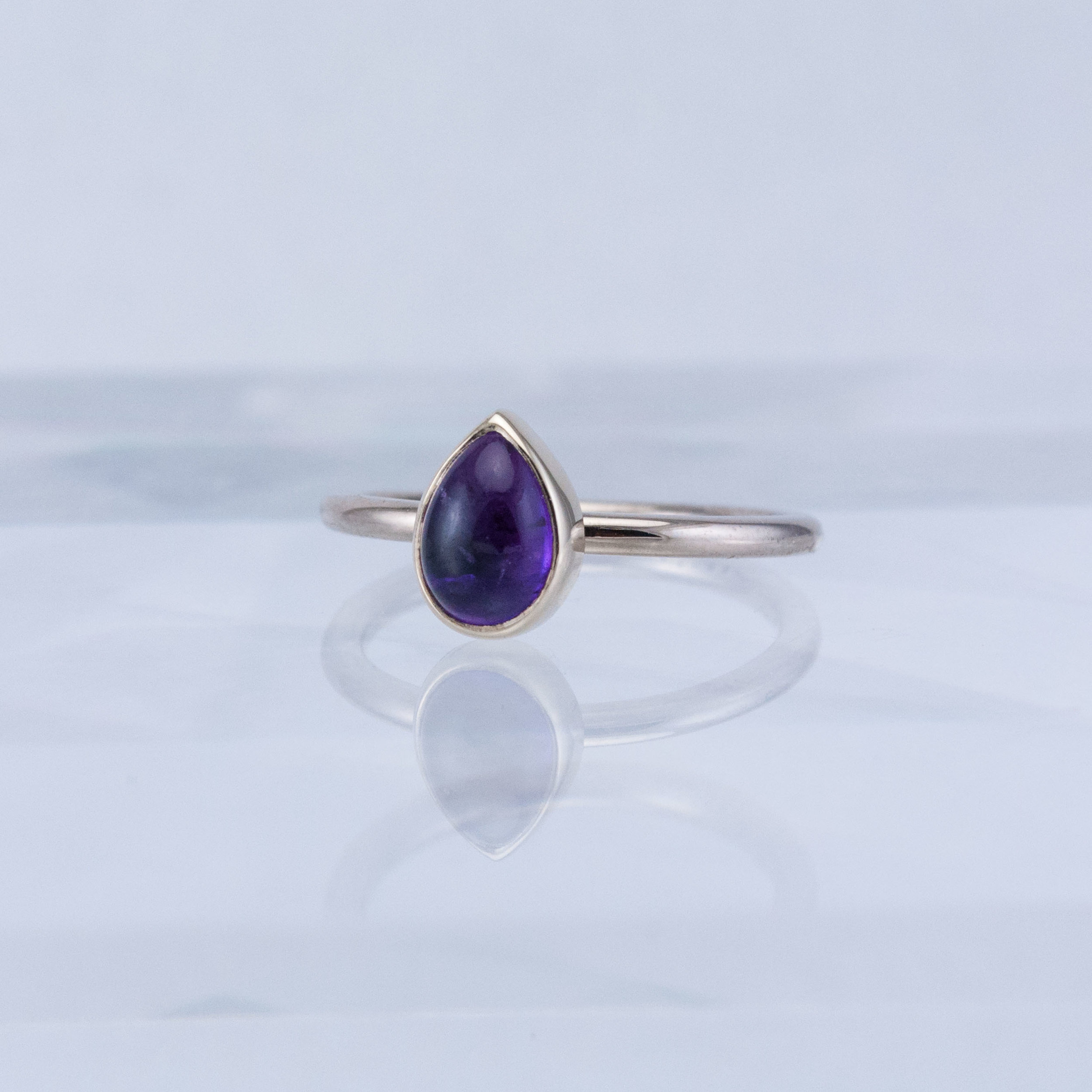Moonbeam Stacking Ring with Amethyst Cabochon