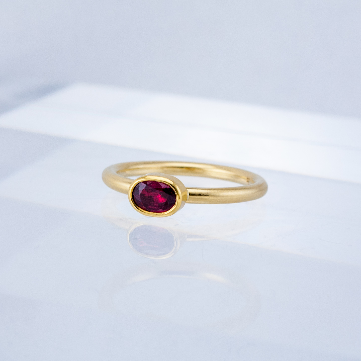 Moonbeam Stacking Ring with Ruby