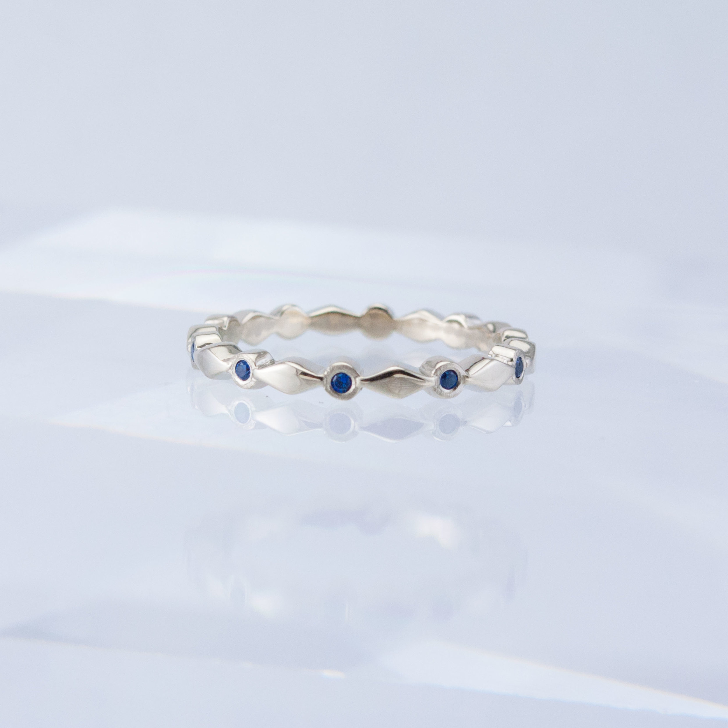 Harlequin Sapphire Stacking Ring