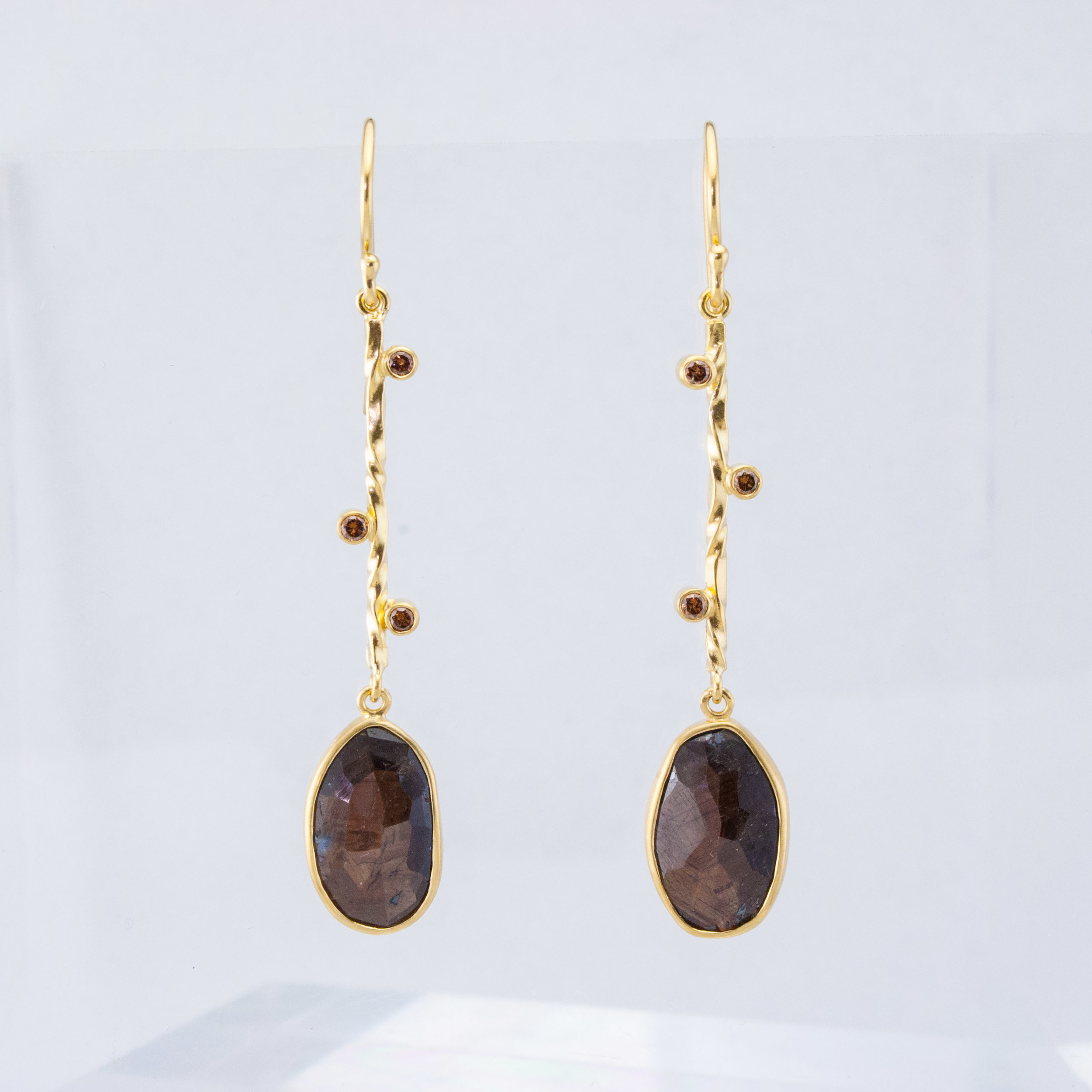 Chocolate Sapphire Sticks and Stones Earrings