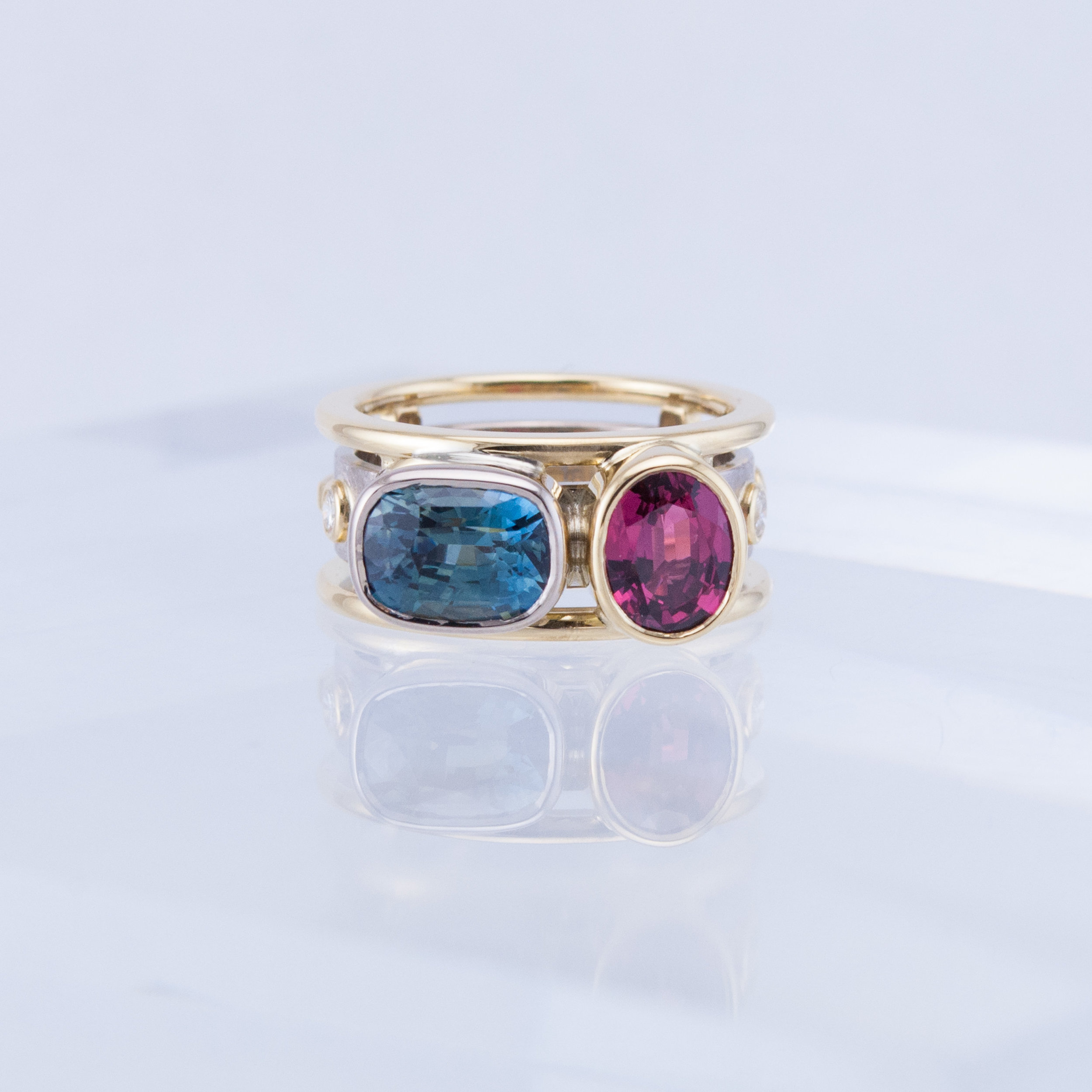Two Sapphire Memory Ring