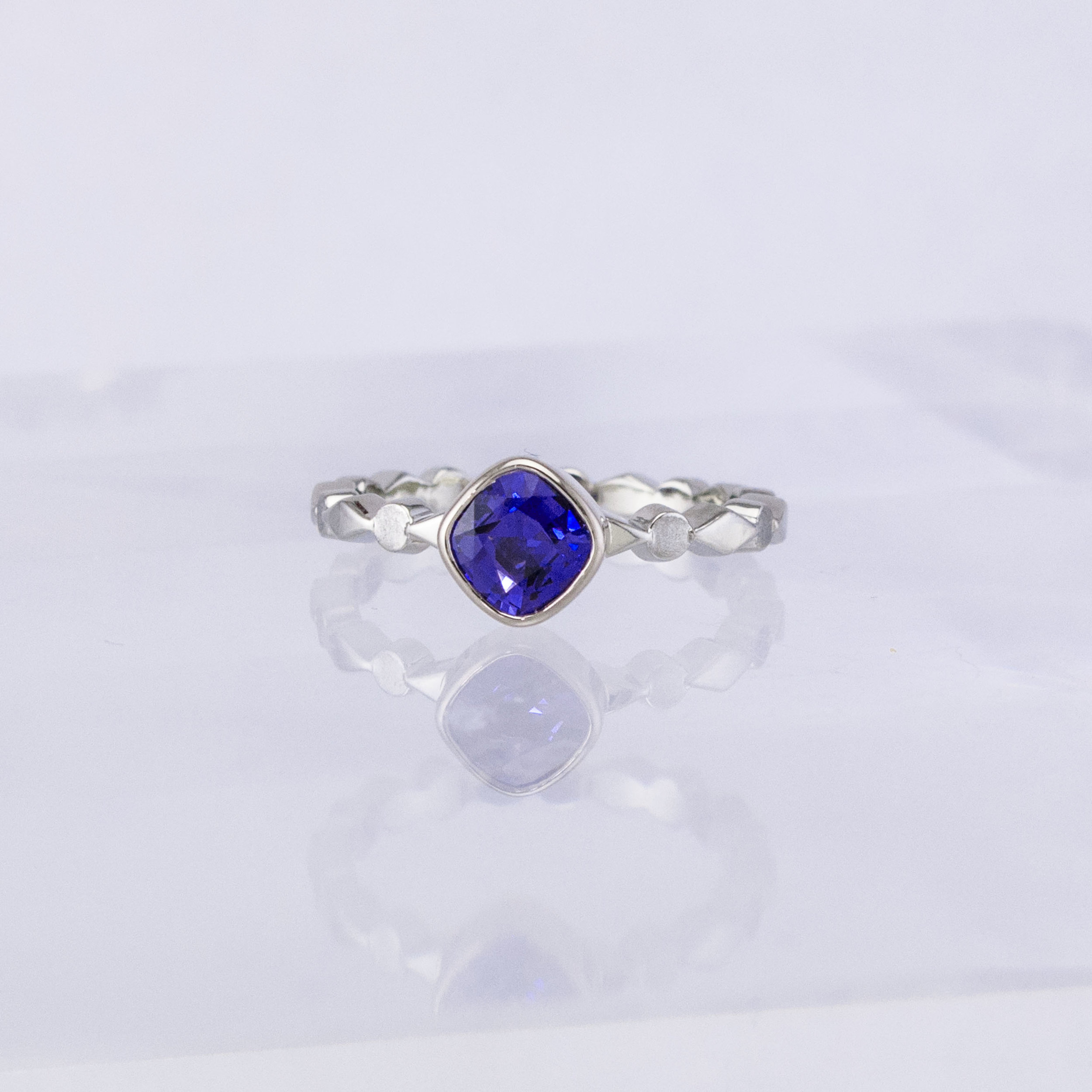 Harlequin Purple Sapphire Solitaire