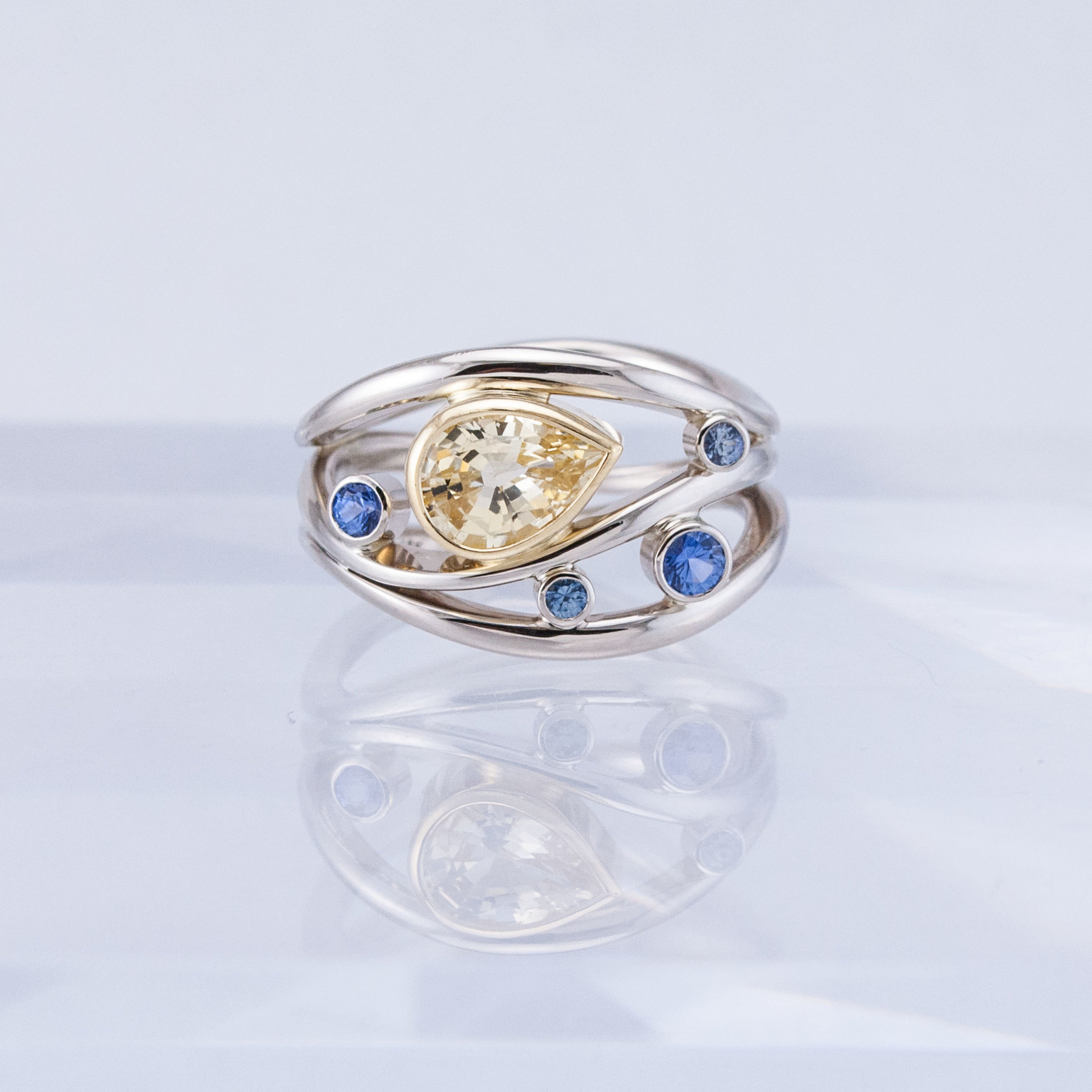 Triality Ring with Yellow and Blue Sapphires