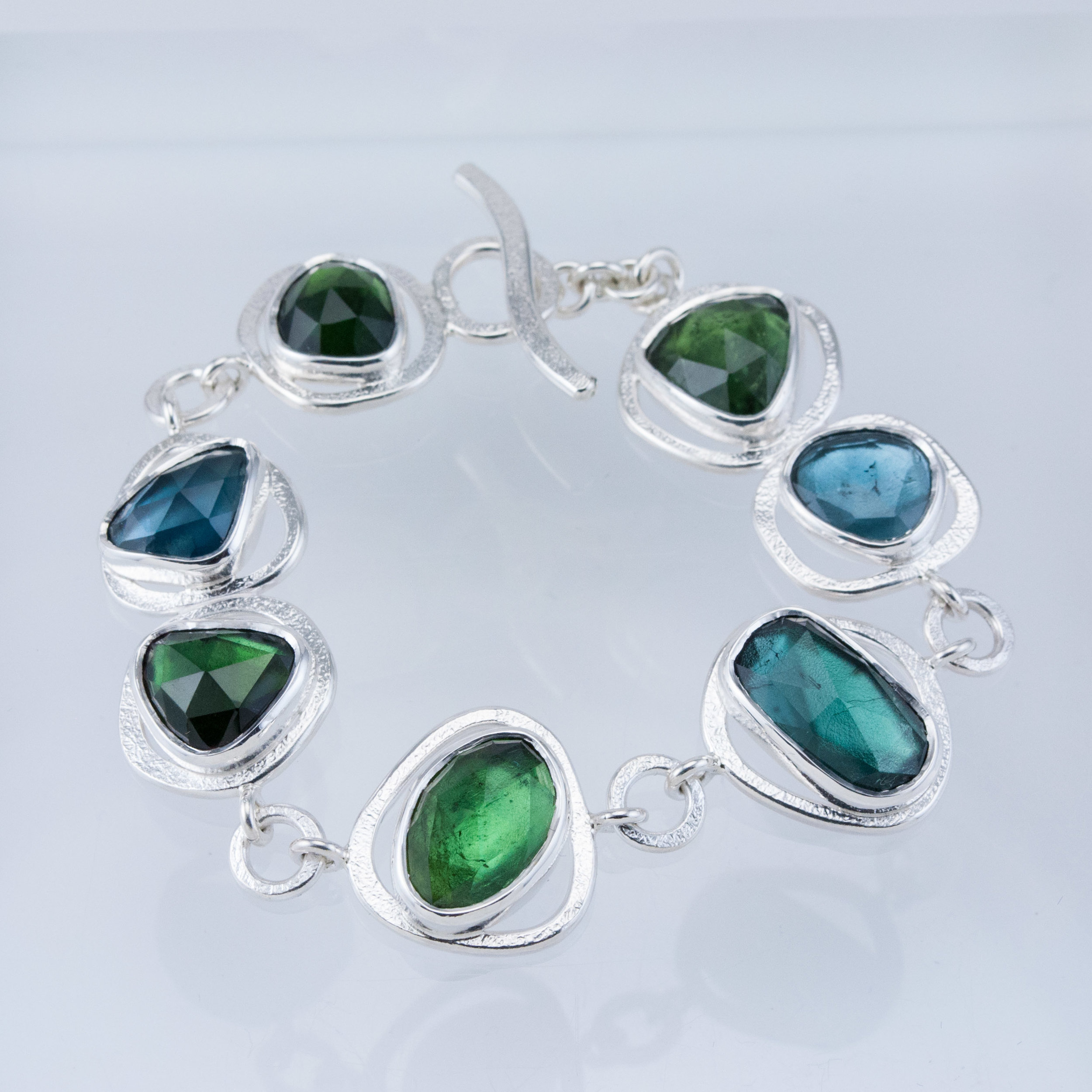 GEO Gem Link Bracelet with Tourmalines