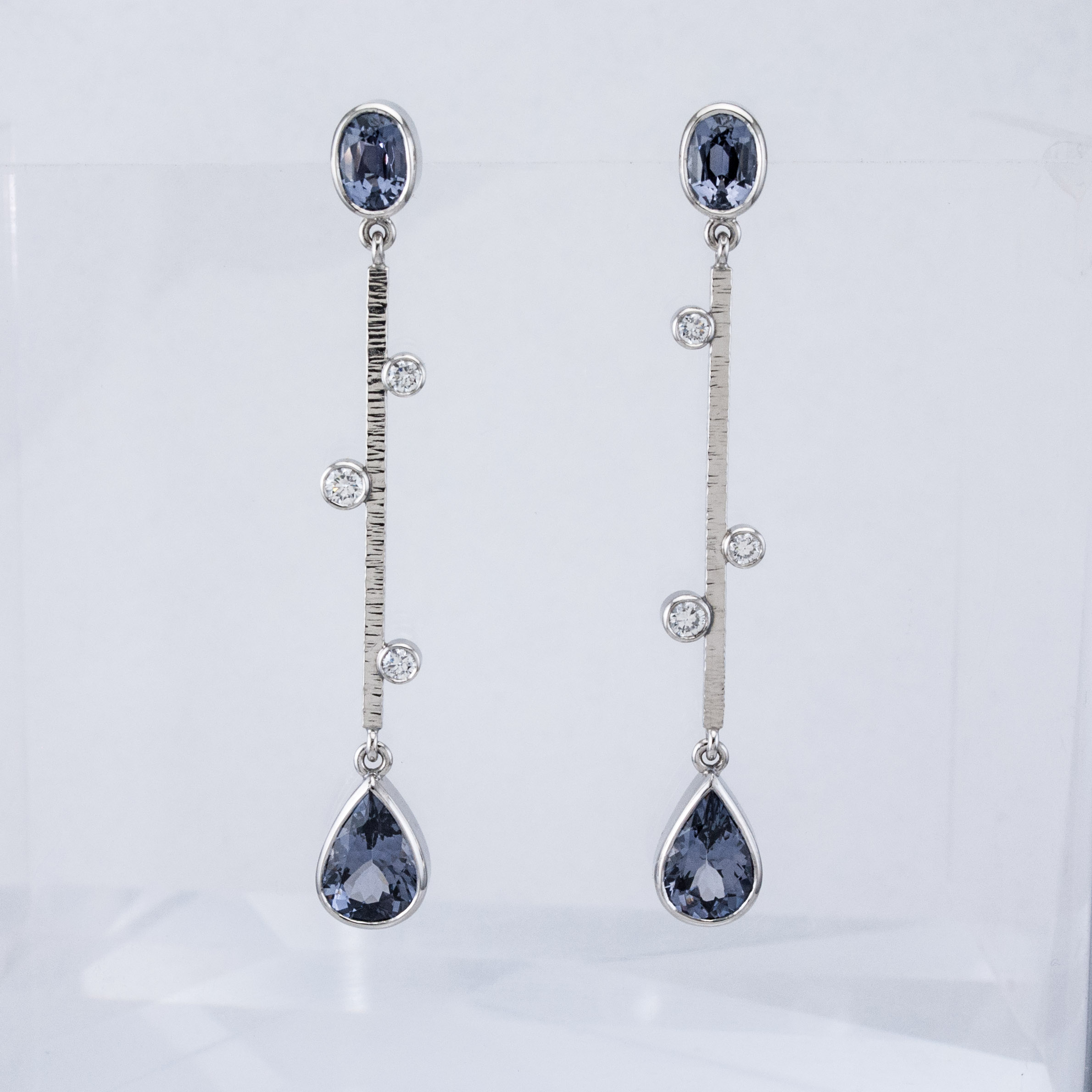 Sticks and Stones Earrings with Grey Spinels