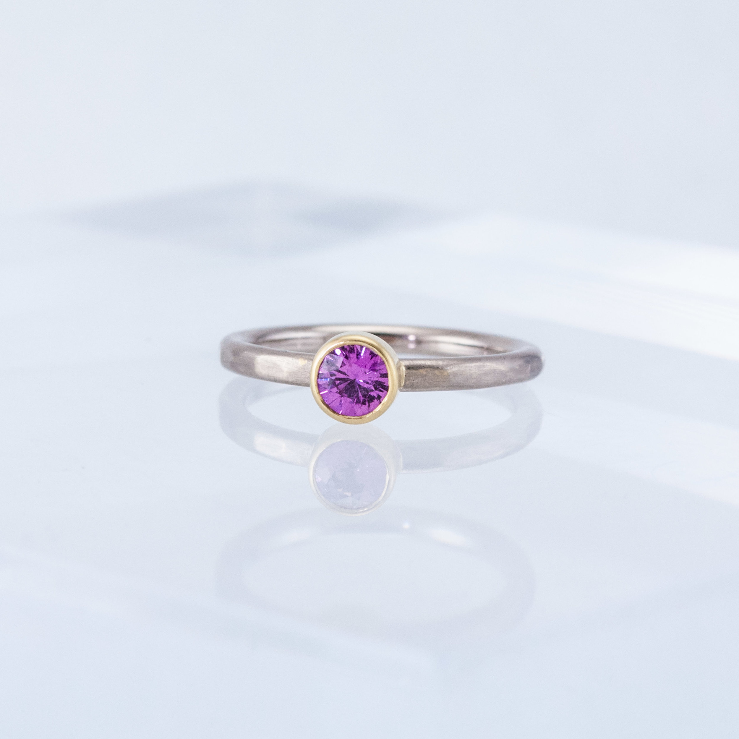 Hammered Stacking Ring with Pink Sapphire