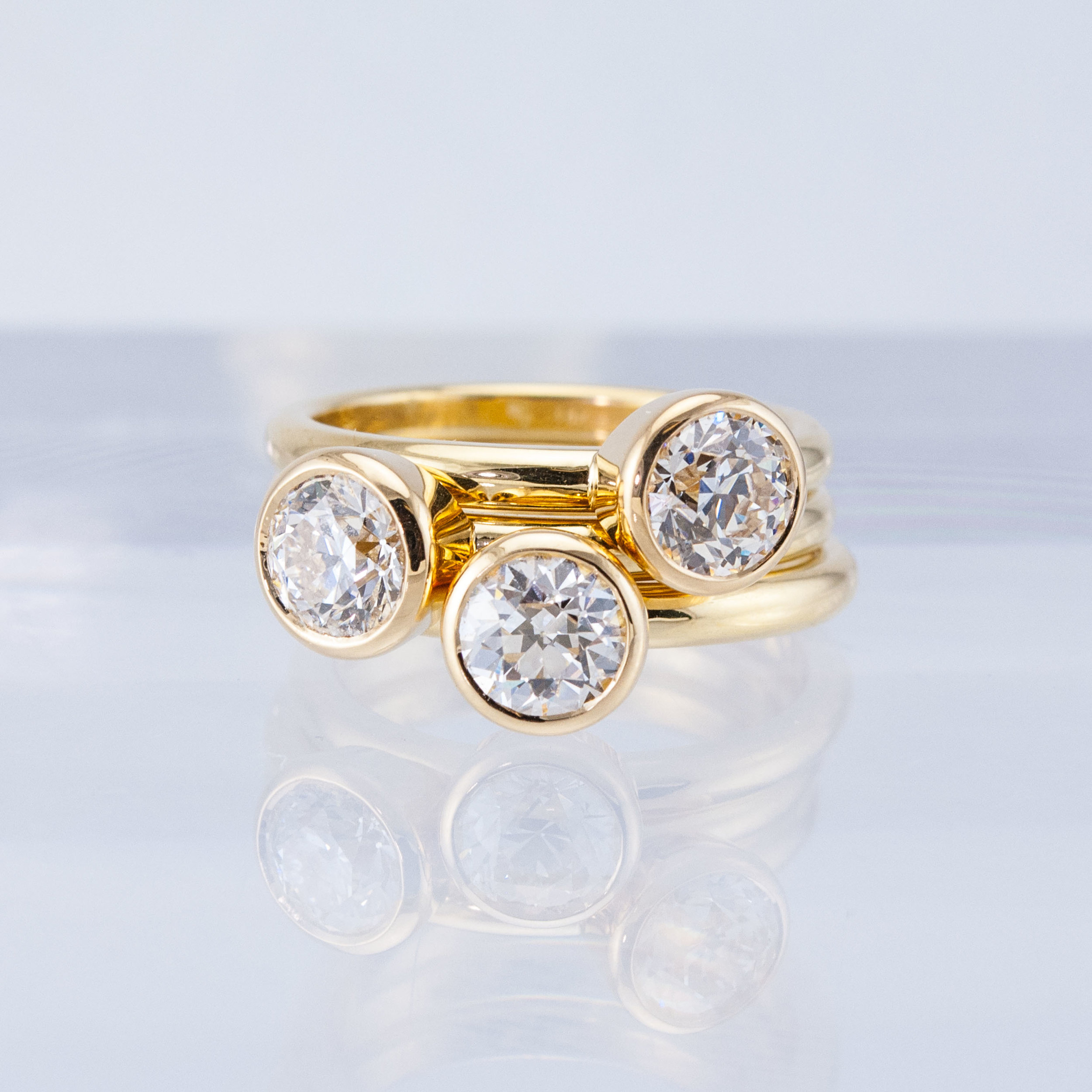 Bezeled Diamond Stacking Solitaires