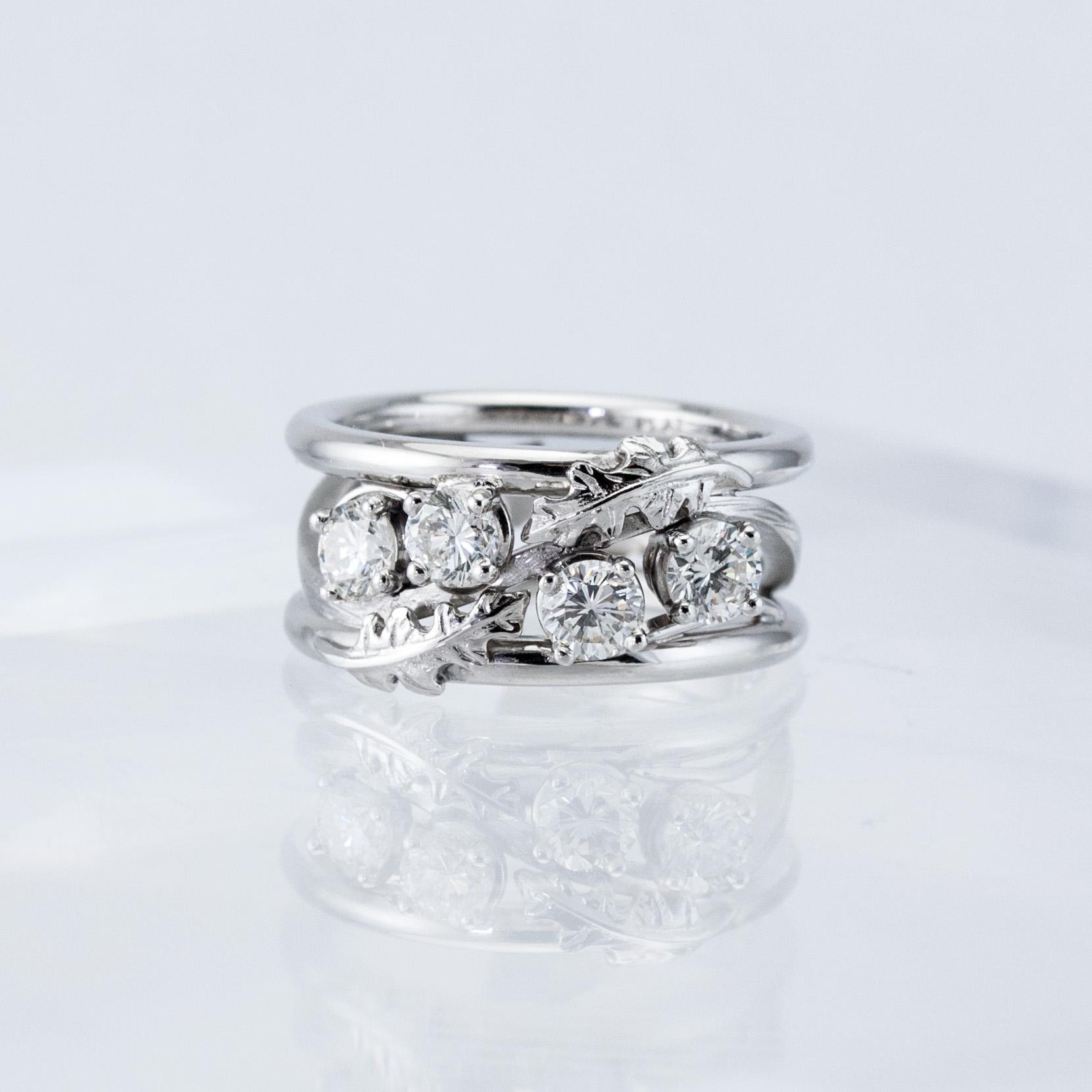 Custom Oak Leaf Constellation Ring