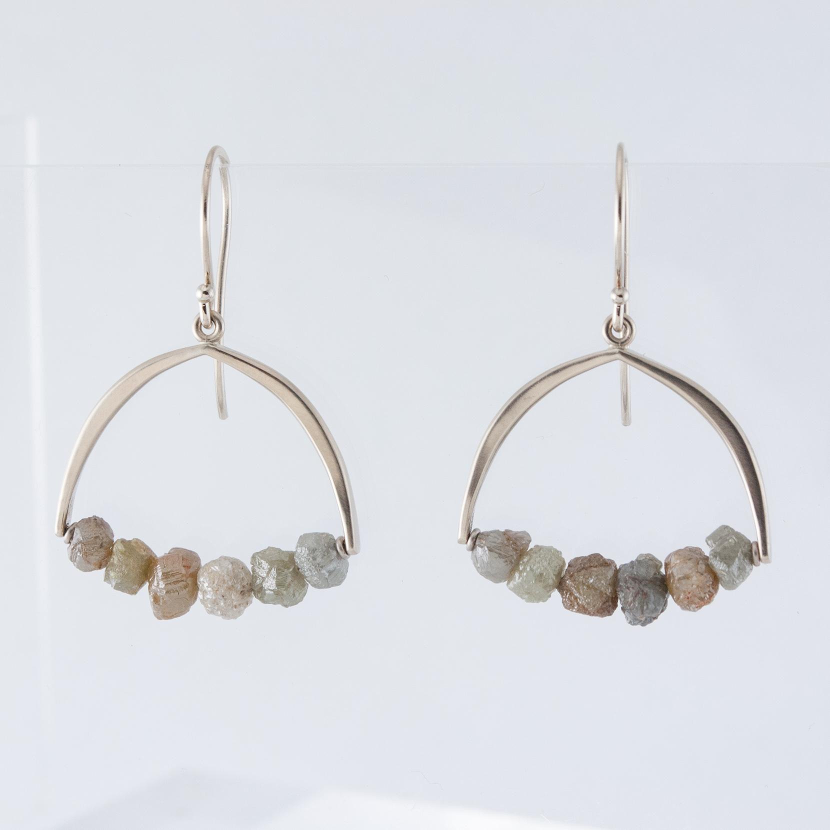 Arc Earrings with Raw Diamonds