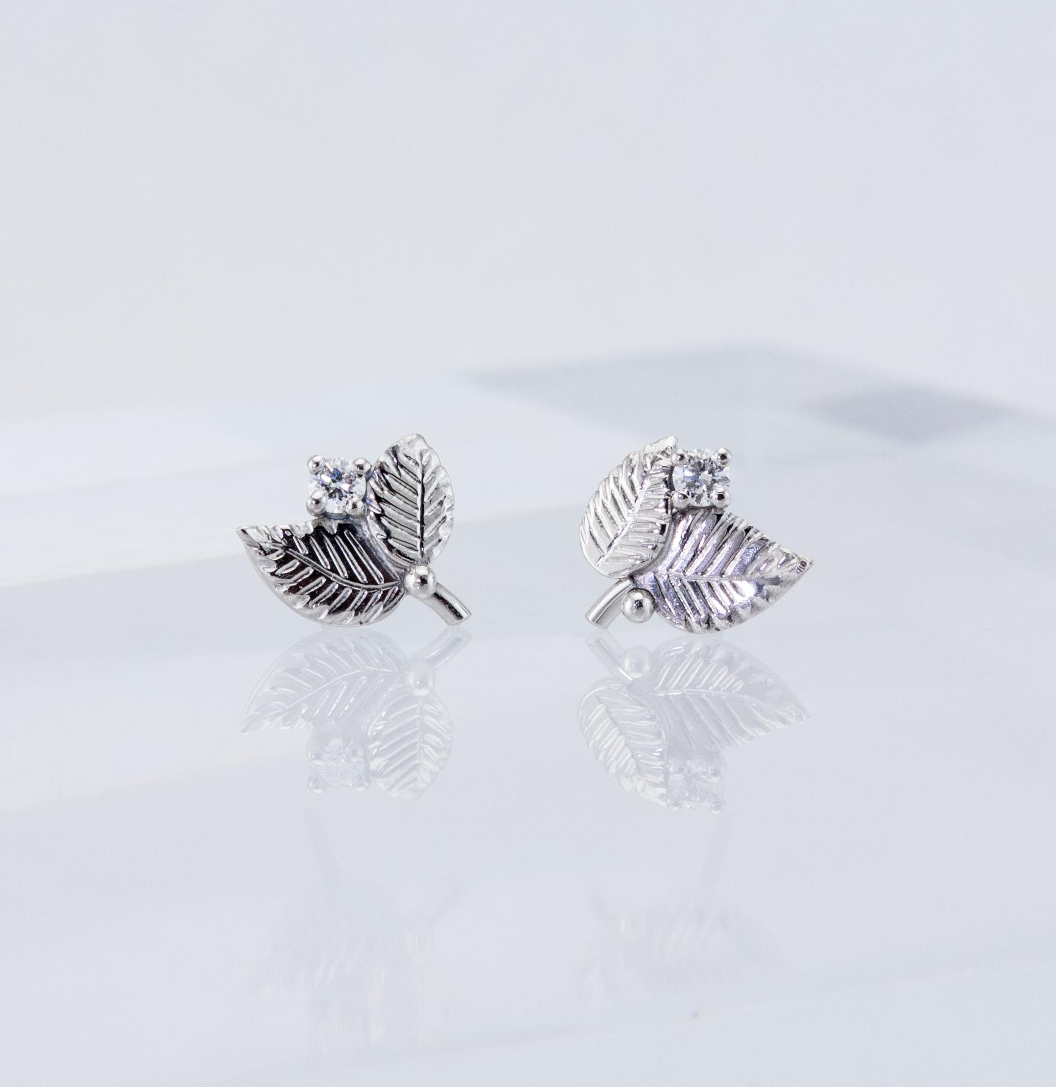 Beech Leaf Diamond Studs