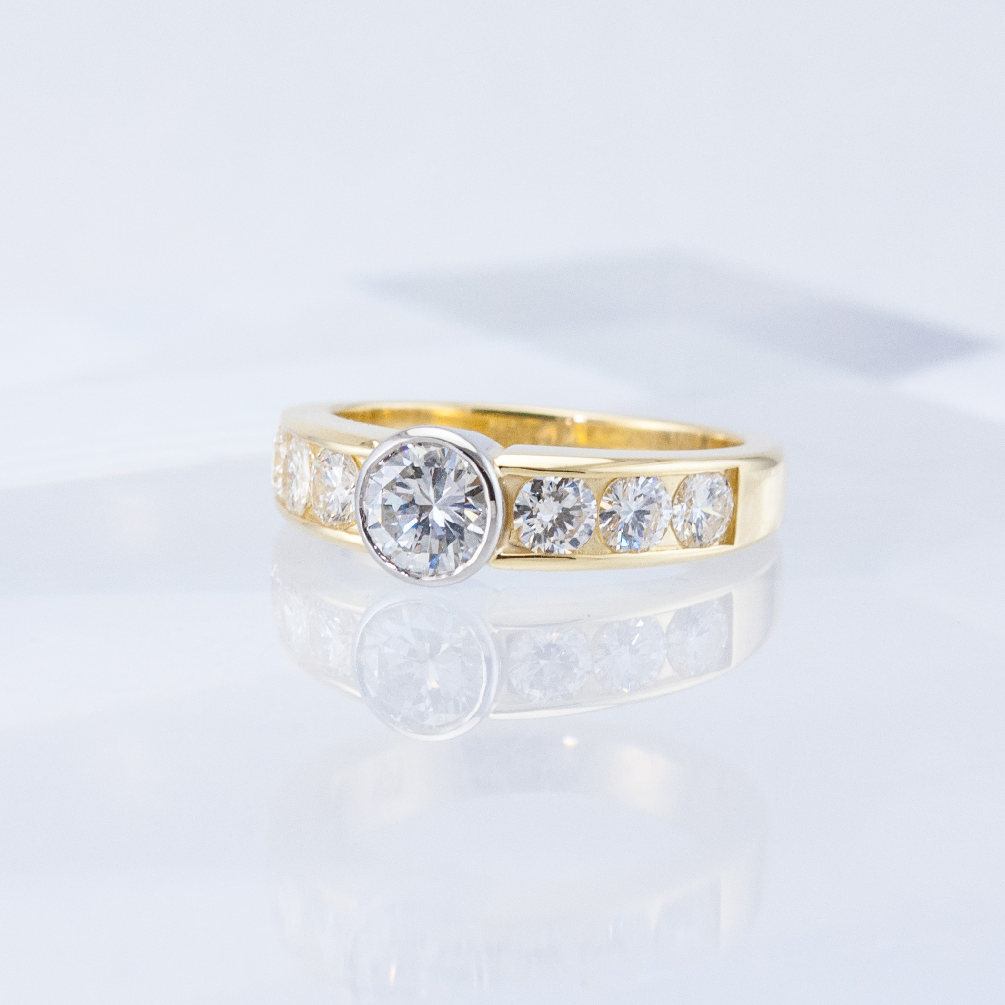 Bezel and Channel-set Diamond Ring