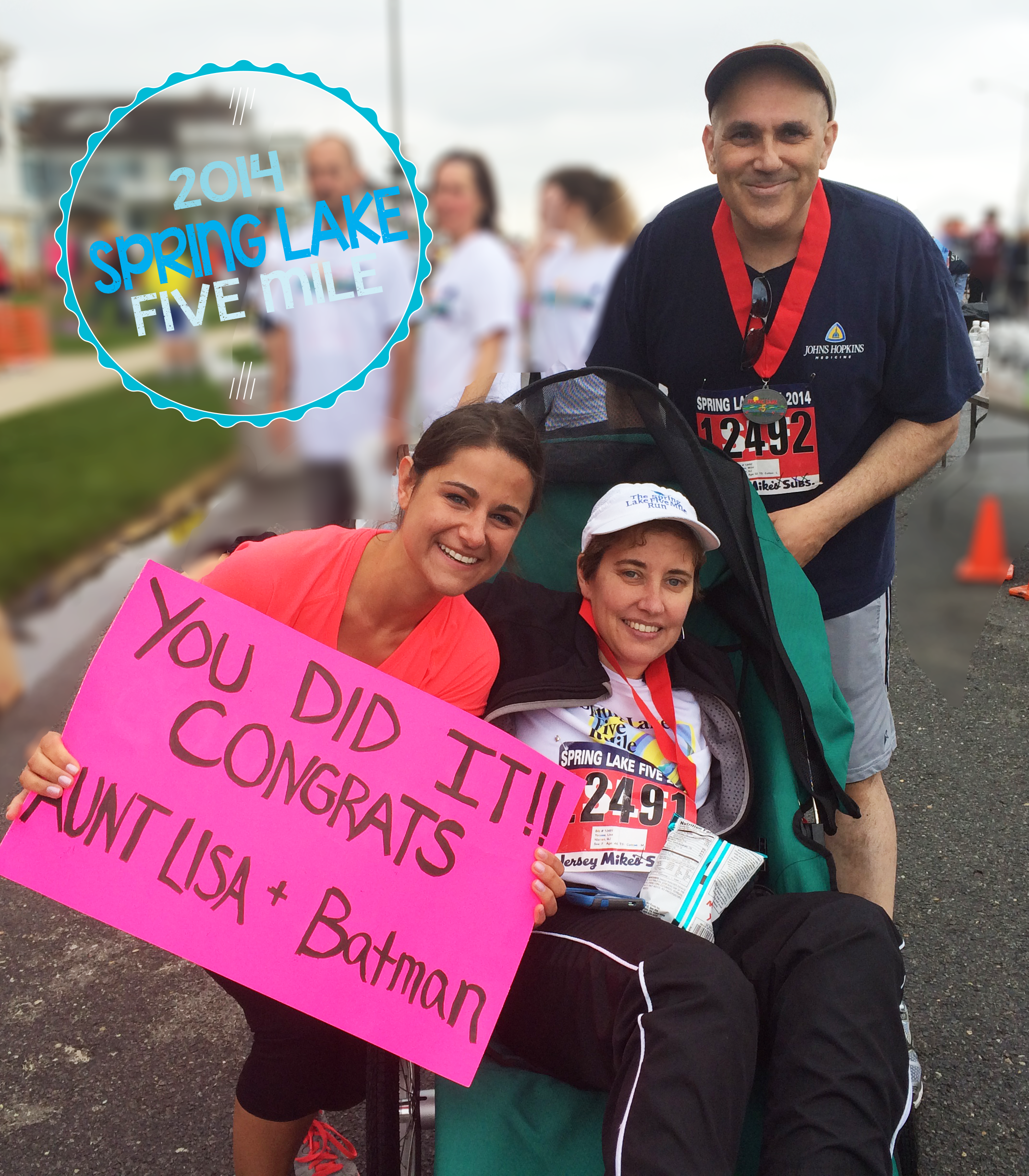 Kate, Lisa, Mike It is about overcoming the odds and the will to cross the finish line.