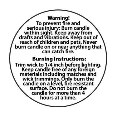 Candle Warning Label