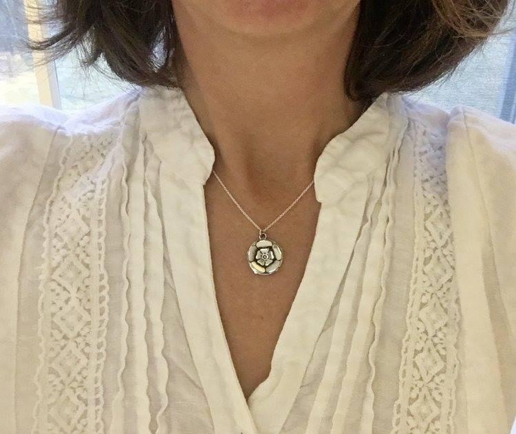 Sterling Silver White Rose Pendant / Pin