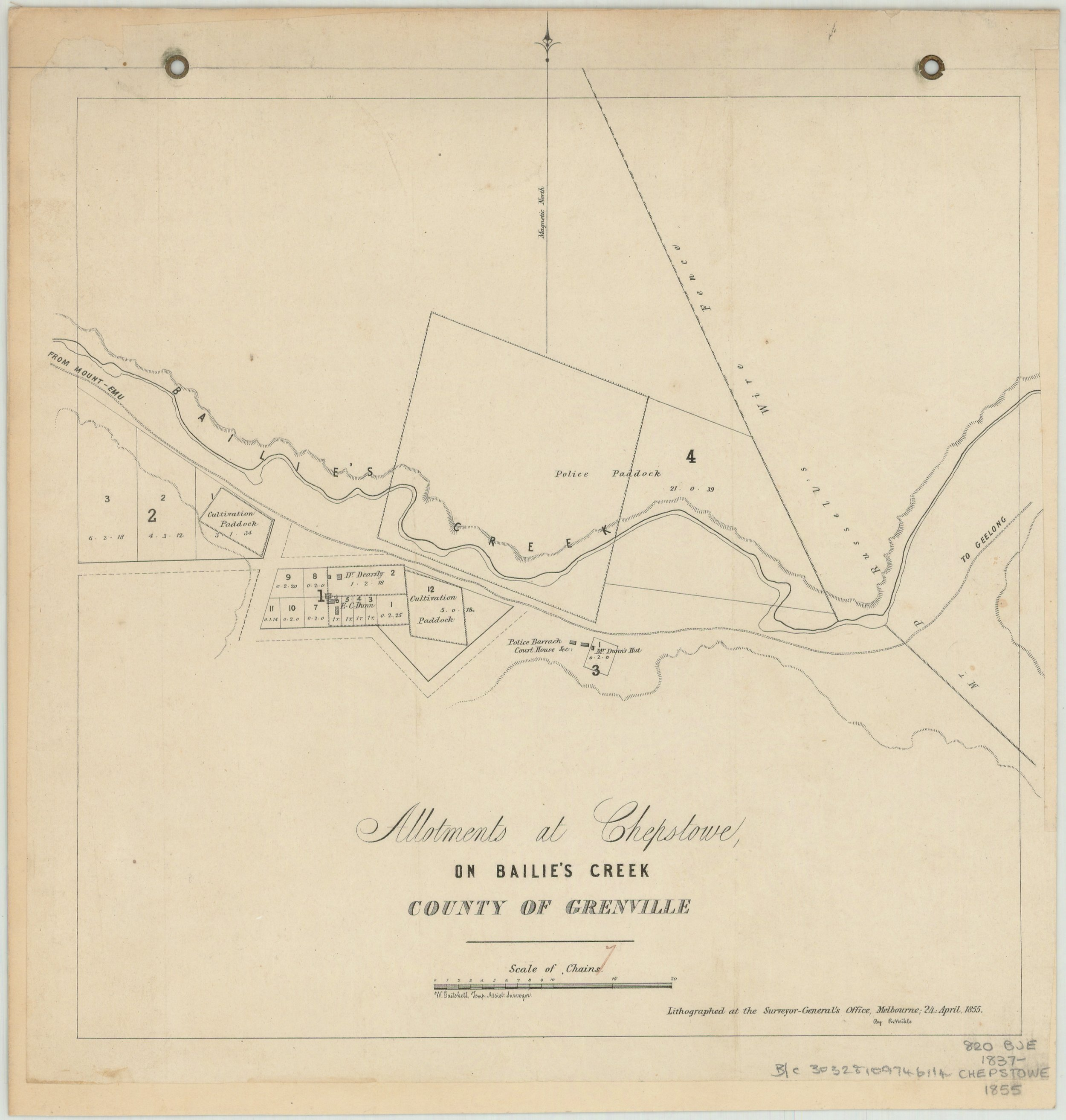 Early allotment map of Chepstowe