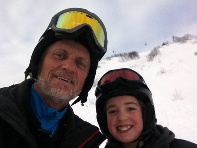 Eric and his grandson, Zach, skiing at Alyeska. This was Zach's first time skiing.