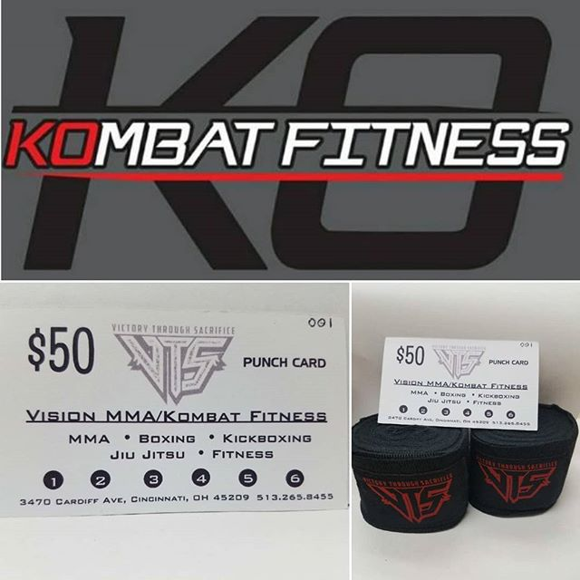 Treat yourself or someone else to a Great Holiday Gift idea this year!! $50 lets you mix-and-match any 6 MMA or fitness classes. The first 30 Punch Card purchases will receive a FREE pair of Victory Through Sacrifice hand wraps. Punch Cards are available for a LIMITED time only - so get one before they are gone! #victorythroughsacrifice #vts #visionmma #kombatfitness #fitnessboxing #cincinnatifitness #mma #holidaygiftideas #combatsports #cincinnati #cincinnatiohio www.vtsapparel.com/kombat-fitness/