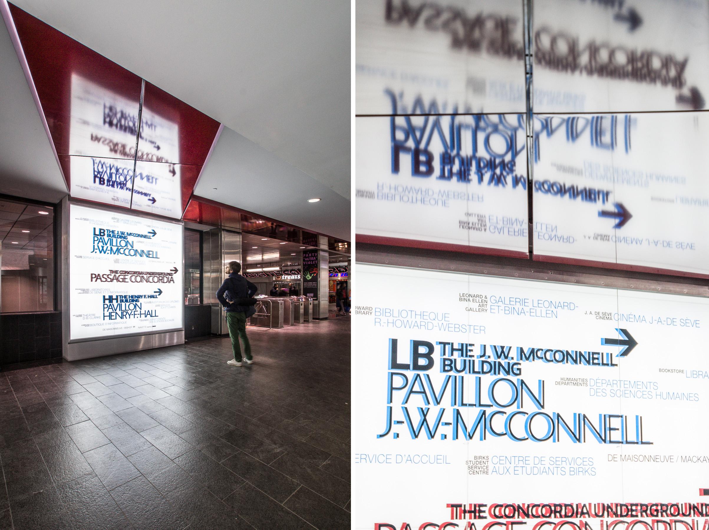 Affichage Concordia de IJB , photos : Raphaël Thibodeau