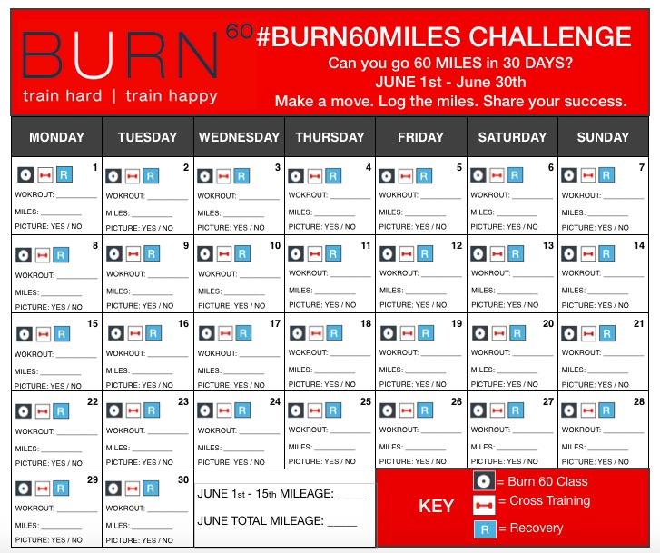 #BURN60MILES CHALLENGE Calendar