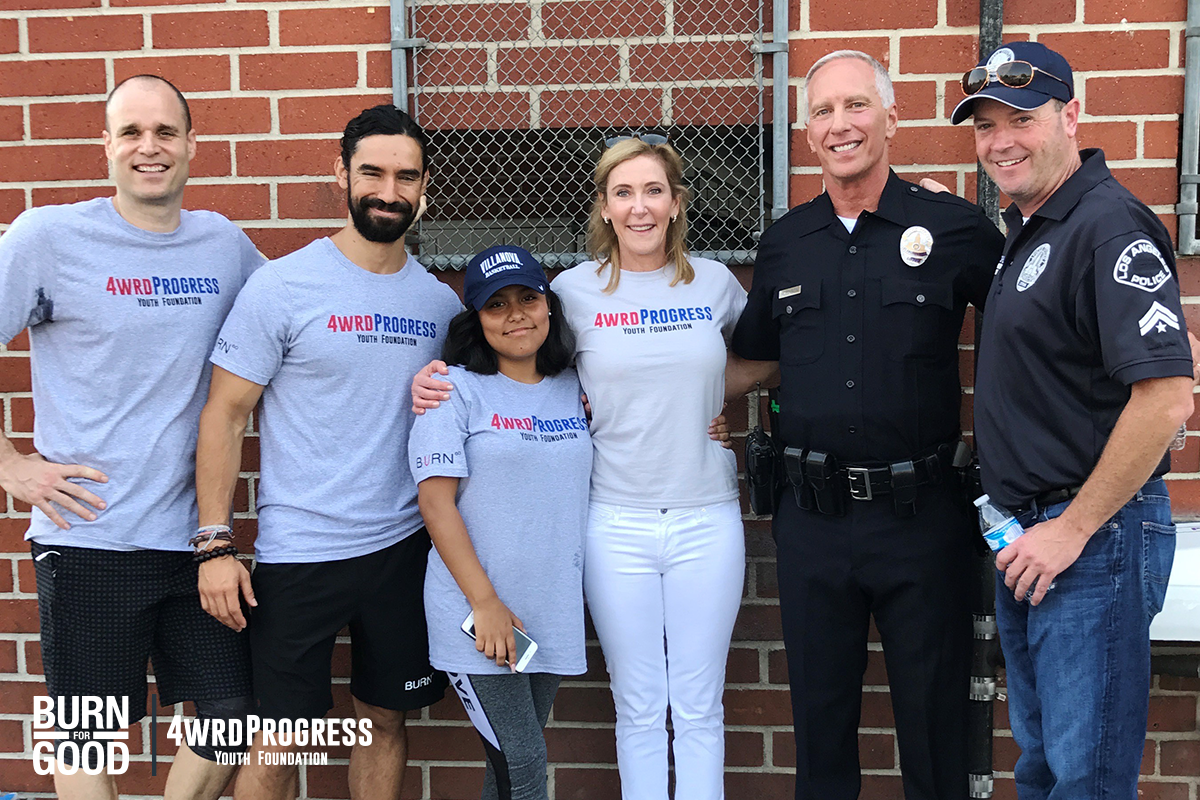 Burn 60 founder Janet and trainers Andrew and Ricardo join LAPD officers Steve and Jonny and Operation Progress for the 4Ward Progress Leadership Camp.