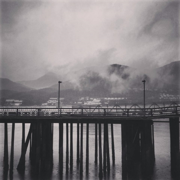 A cloudy pier awaiting a cruise ship in Juneau, Alaska, taken on a Boston Brass trip there to perform with the Enso Quartet in 2013.
