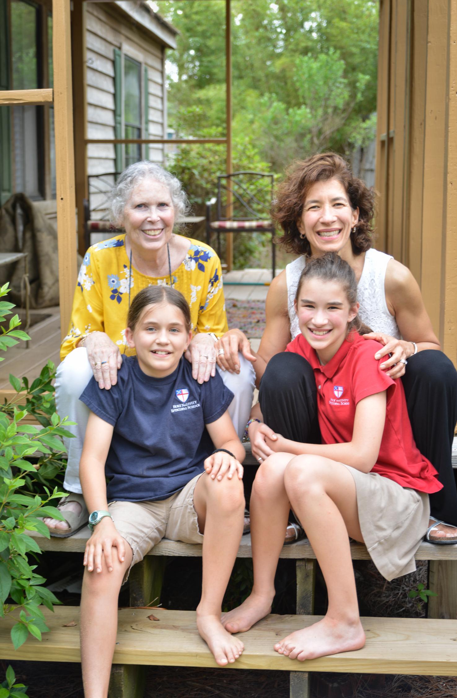 Dr. Prudence Farrow Bruns (Transcendental Meditation Teacher)        with Caroline and her daughters