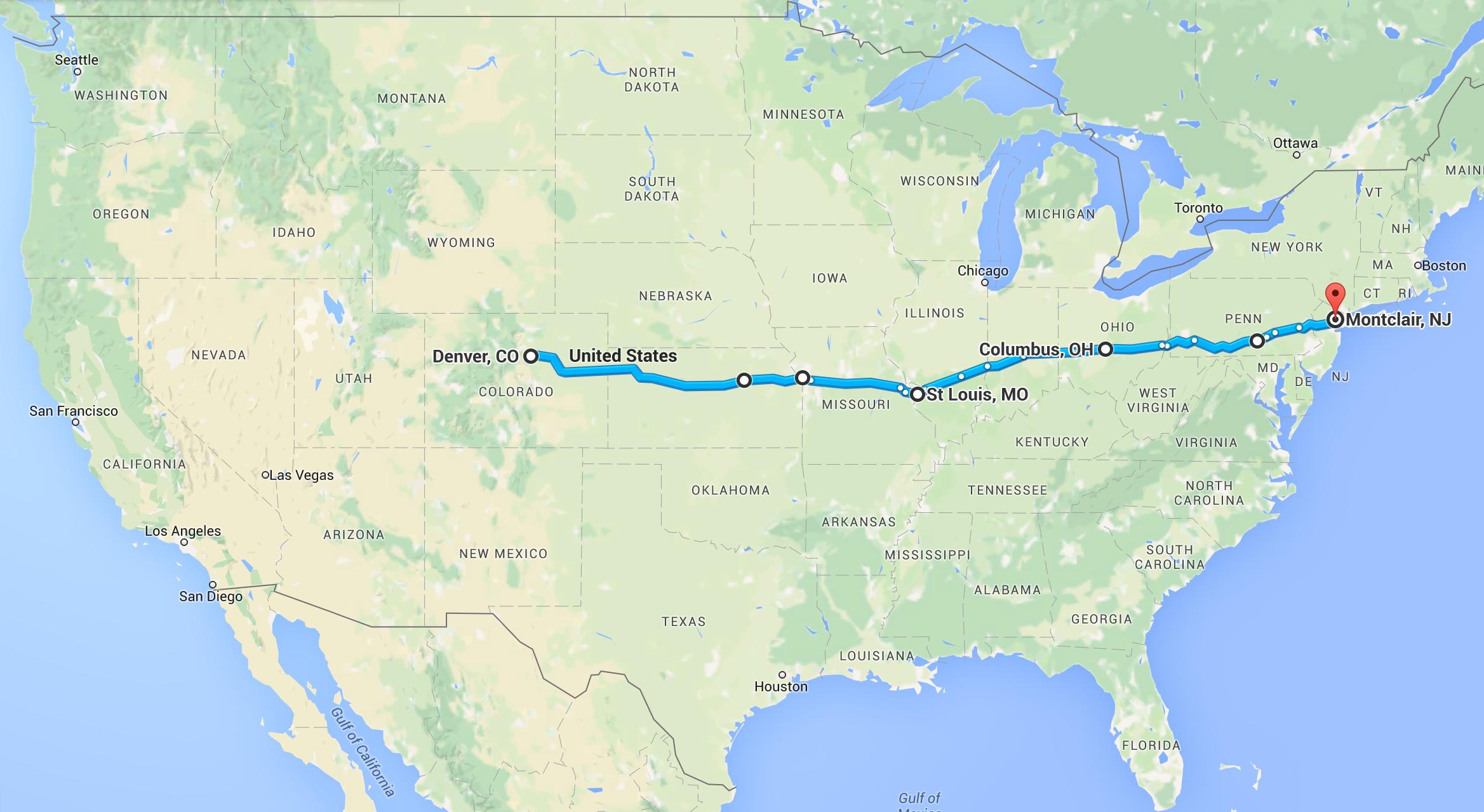 Our return trip route.