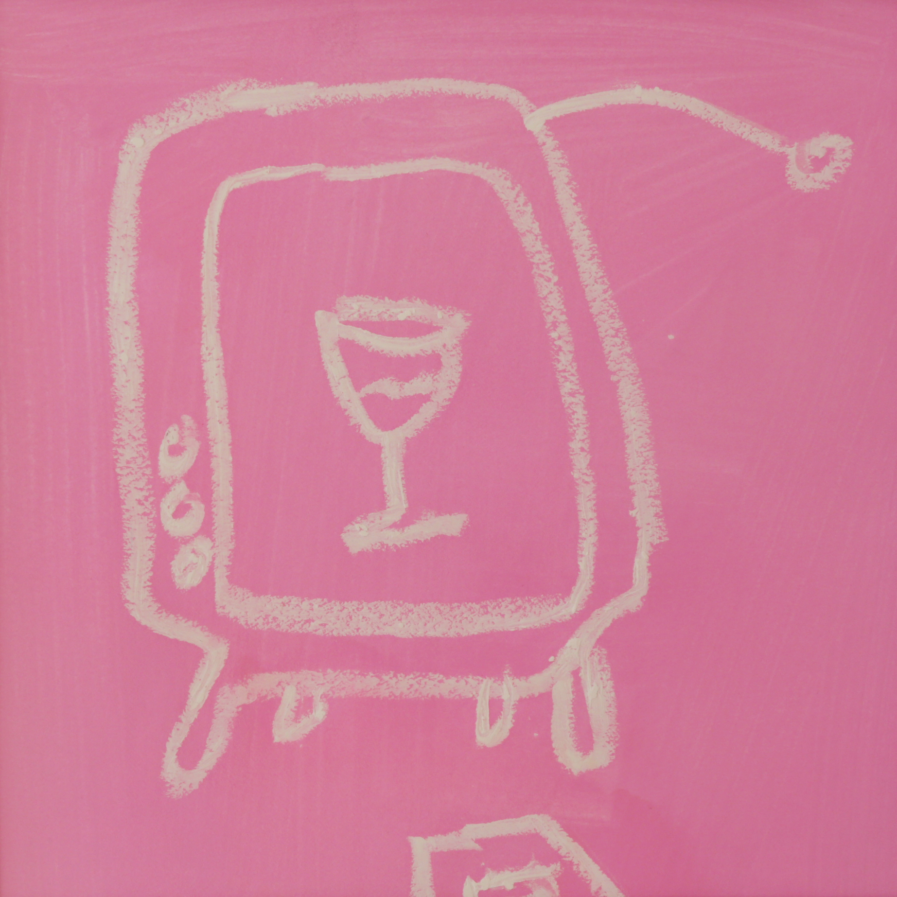 Sin , 2018  Gouache and oil pastel on paper  16 x 16 inches   Sin , a pair of drawings included in the artist's  Rosé Room  series, depicts old-fashioned antenna television sets, in which images of drinking can be seen. In the second iteration, two glasses clink in a social setting. These works comment on the pervasiveness of the American drinking culture that permeates the media.