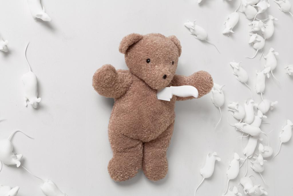 Hovnanian, Rachel Lee_ Poor Teddy_2014_Nylon, oil, teddy bear, knife, silicone_Dimensions variable_(Detail #1).jpg
