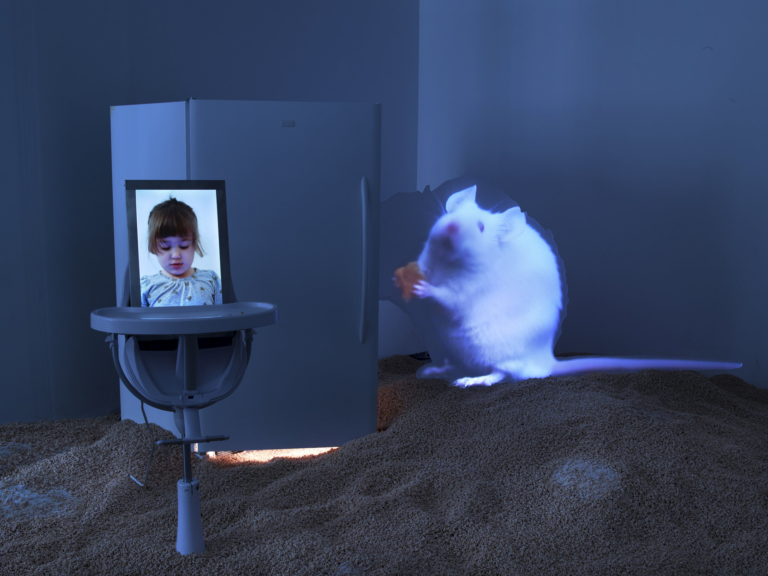 Hovnanian, Rachel Lee_In Loco Parentis_2014_Installation with rear projection video, HD video, acrylic, Cheerios, refridgerator, high chair, metal, diamond dust_Dimensions Variable_(Installation View #2).jpg