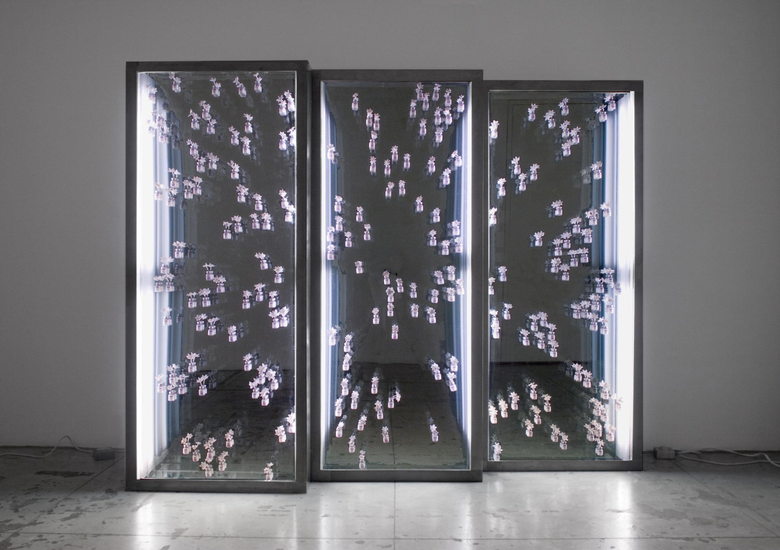 The Gaze I, II,  and  III , 2007  Steel, glass, encaustic, narcissus flowers, Botox vials, fluorescents, plexiglass  73 x 30 x 6 inches