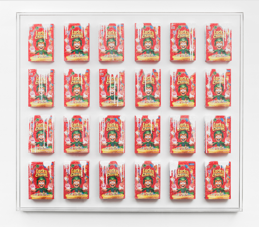Magically Delicious , 2014  Cereal boxes, acrylic paint, crushed glass, plexiglass, wood  67 x 59 x 4 inches