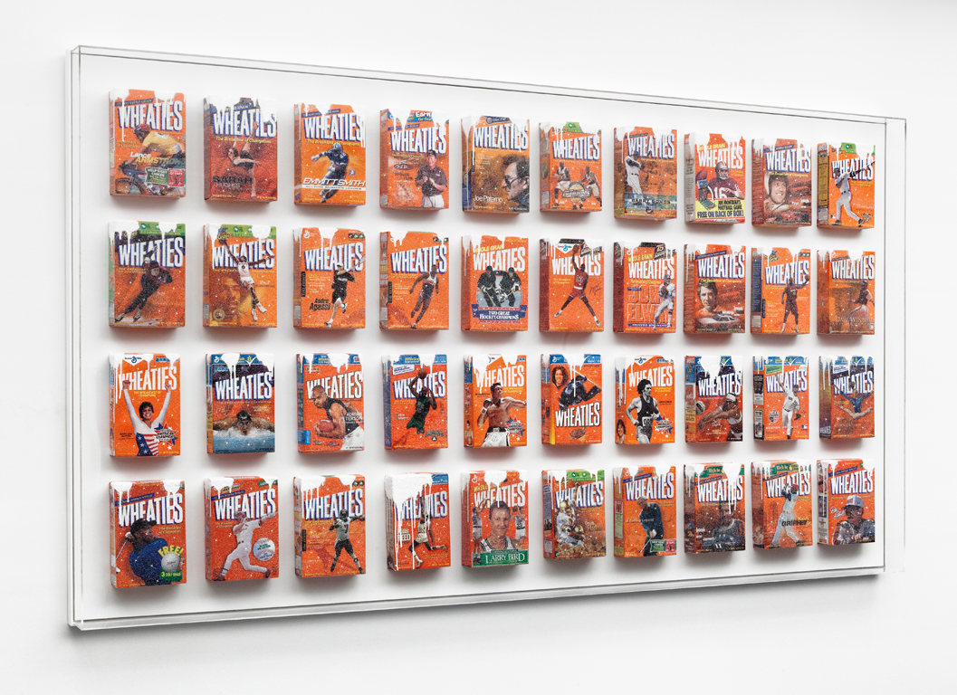Breakfast of Champions II , 2014  Cereal boxes, crushed glass, acrylic paint, plexiglass, wood  119 x 66 x 5 inches