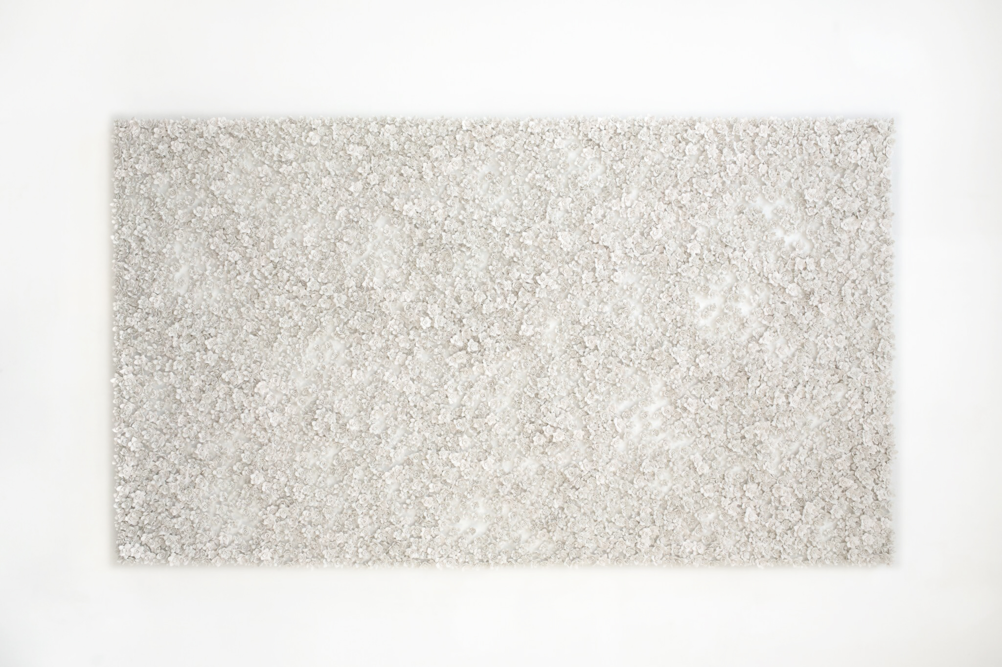 White Narcissus Panel III , 2014  Porcelain, linen, acrylic, nylon, waxed cotton  74 x 43 inches