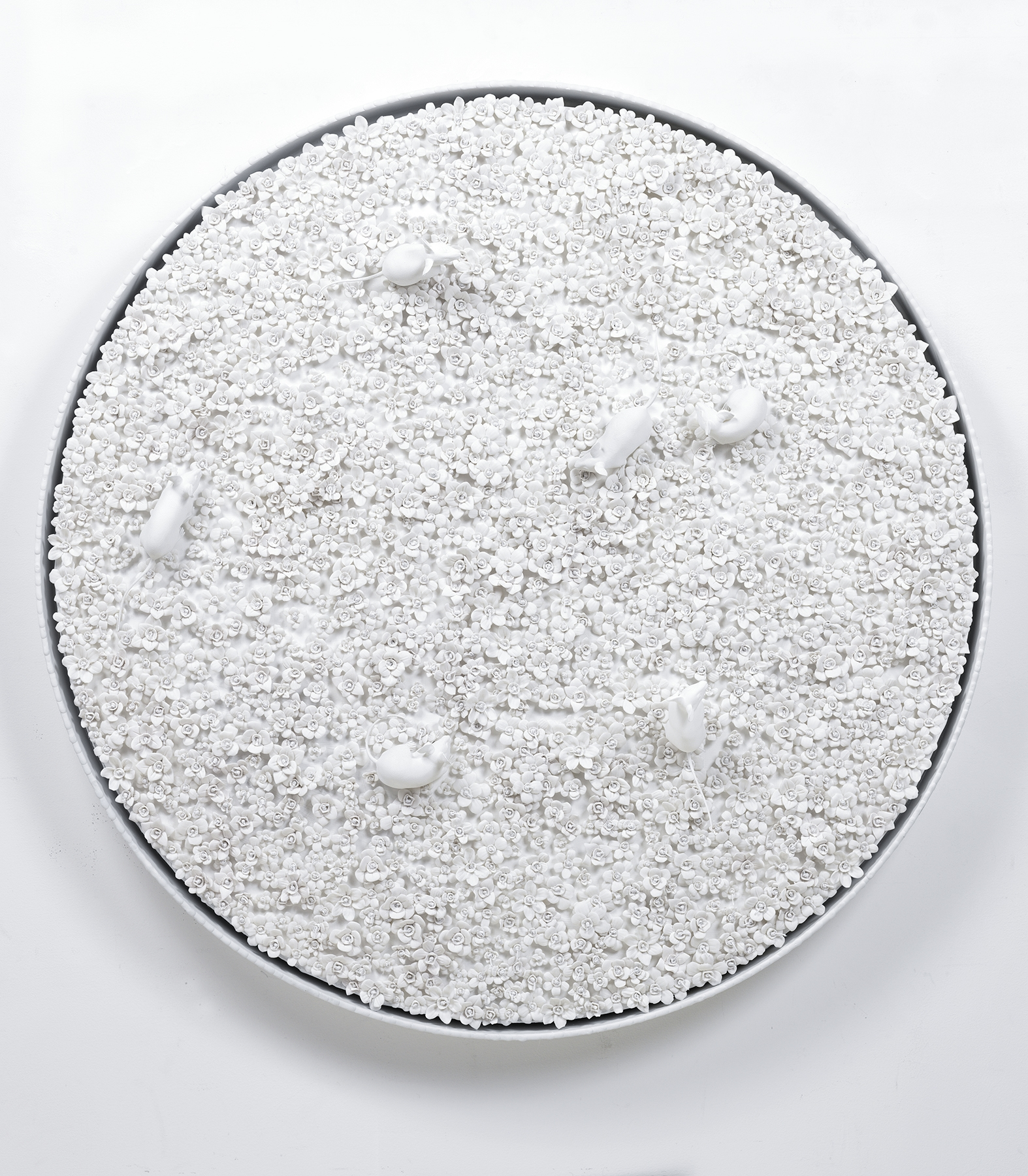 White Narcissus Panel with Mice D , 2014  Porcelain, linen, acrylic, nylon, waxed cotton in artist's frame  42 inches diameter