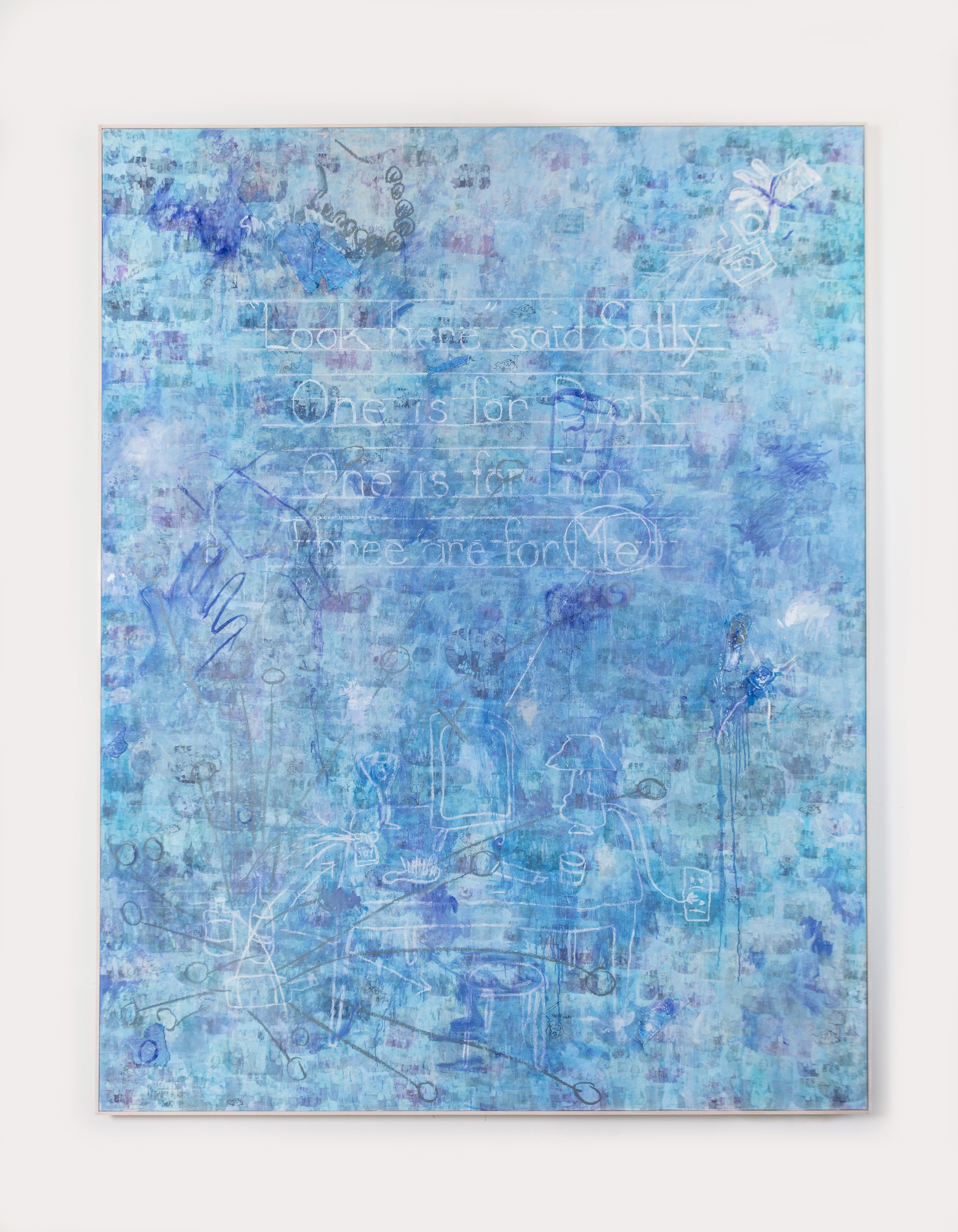 """Blue Valium , 2018  Mixed media on canvas  108 x 96 x 2 inches  The clouded surface of  Blue Valium  is interspersed with a cloudy family photograph that repeats across the canvas. Buried under layers of paint, pastel, and collaged fabrics, the subjects' identities become unrecognizable - the family becomes a token for the stereotypical unit. The bottom half of the canvas makes way for a frantic drawing in pastel, a cluttered vanity becomes visible. A bottle of perfume labeled """"Joy"""", an empty martini glass, and a bottle of pills foreshadow a dark undertone to the smiling familial photograph."""