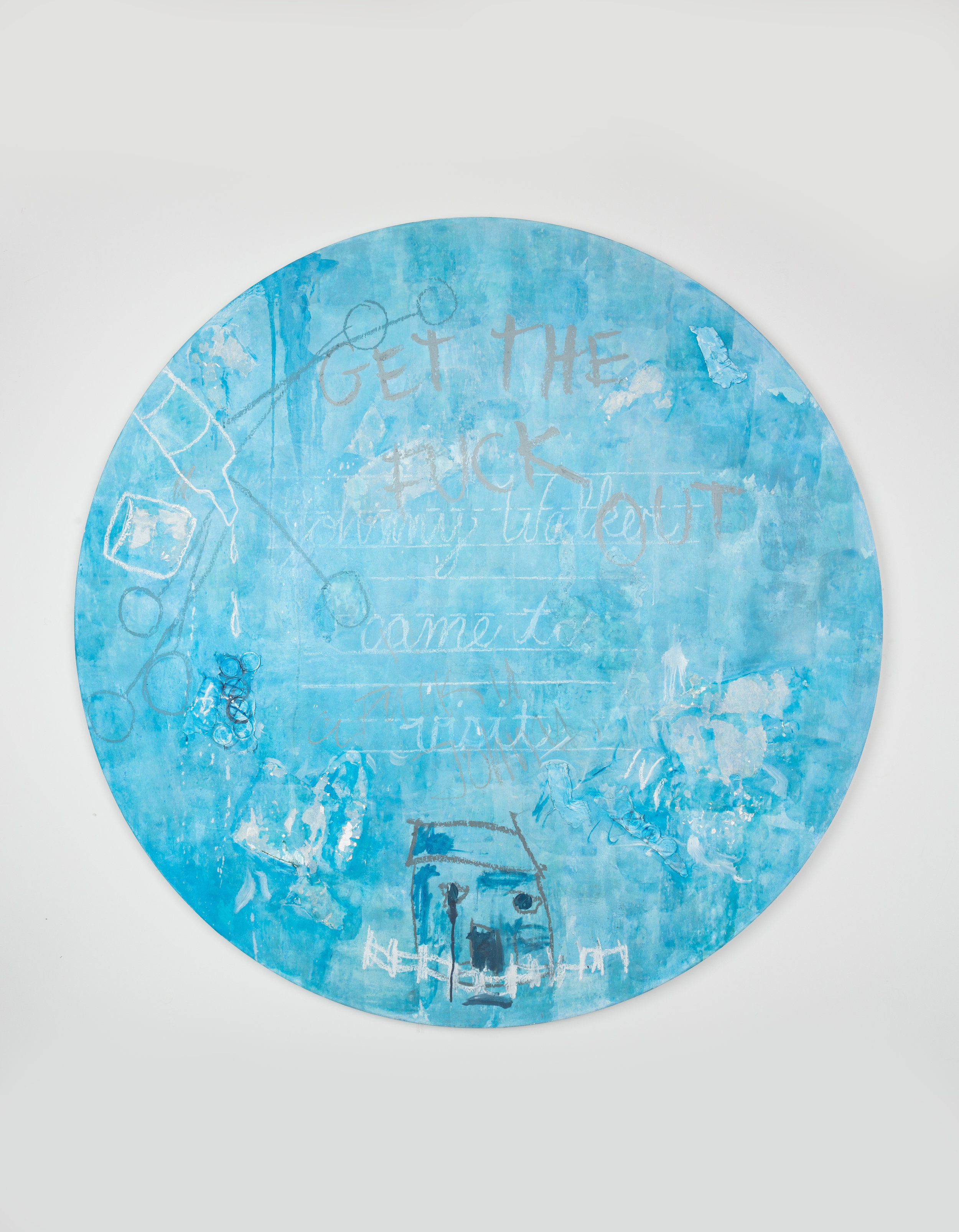 Blue Gin Fizz , 2018  Mixed media on canvas  59 x 2 inches