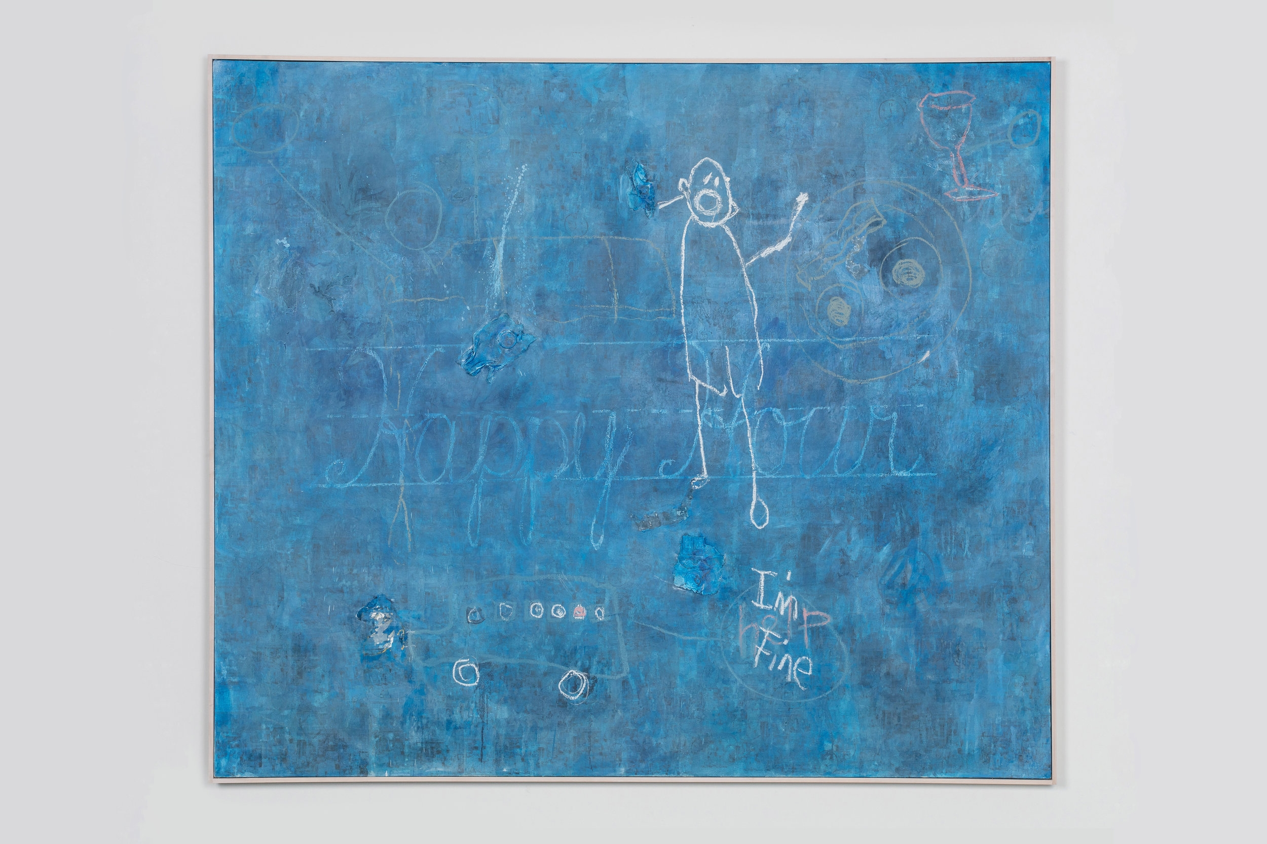 """Blue Monster , 2018  Mixed media on canvas  60 x 70 x 2 inches   Blue Monster  foreshadows Hovnanian's childhood of growing up in a household with an alcoholic father, where every hour was """"happy hour."""" She signifies this idea with a breakfast platter at first glance but furthermore deep in the layers of her work you will find repetitions of clocks set precisely to five p.m. The pink words """"help"""" linger out of a school bus and covered by the words """"I'm fine"""" indicating the facade Hovnanian would have to put on outside the doors of her own home."""